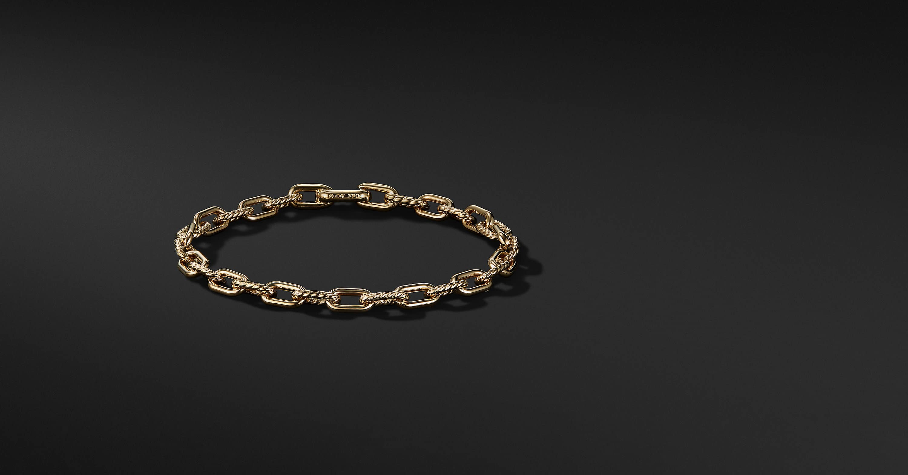 Links Cable and Smooth Chain Bracelet in 18K Yellow Gold