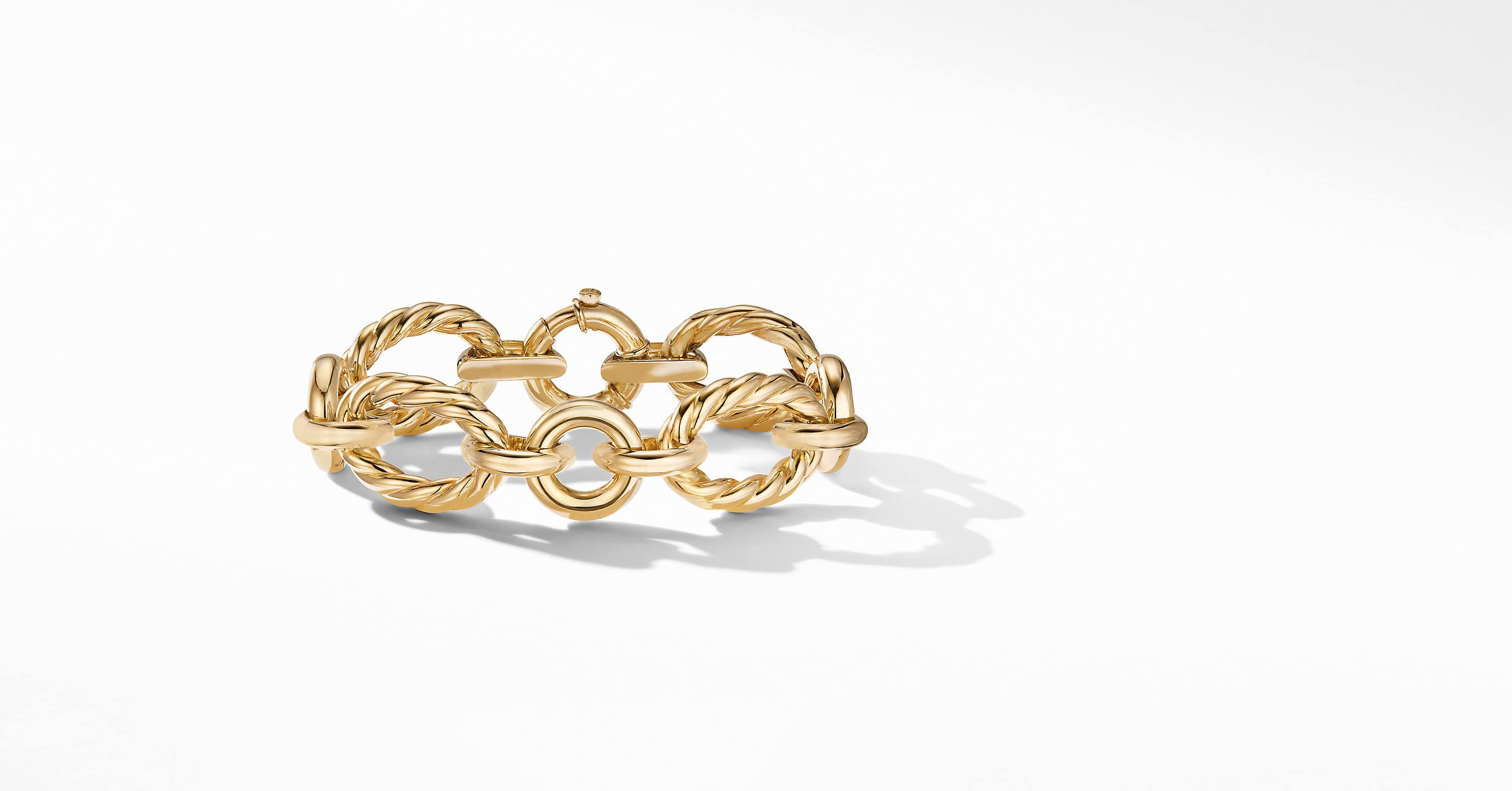 Cable and Smooth Chain Link Bracelet in 18K Yellow Gold, 20mm