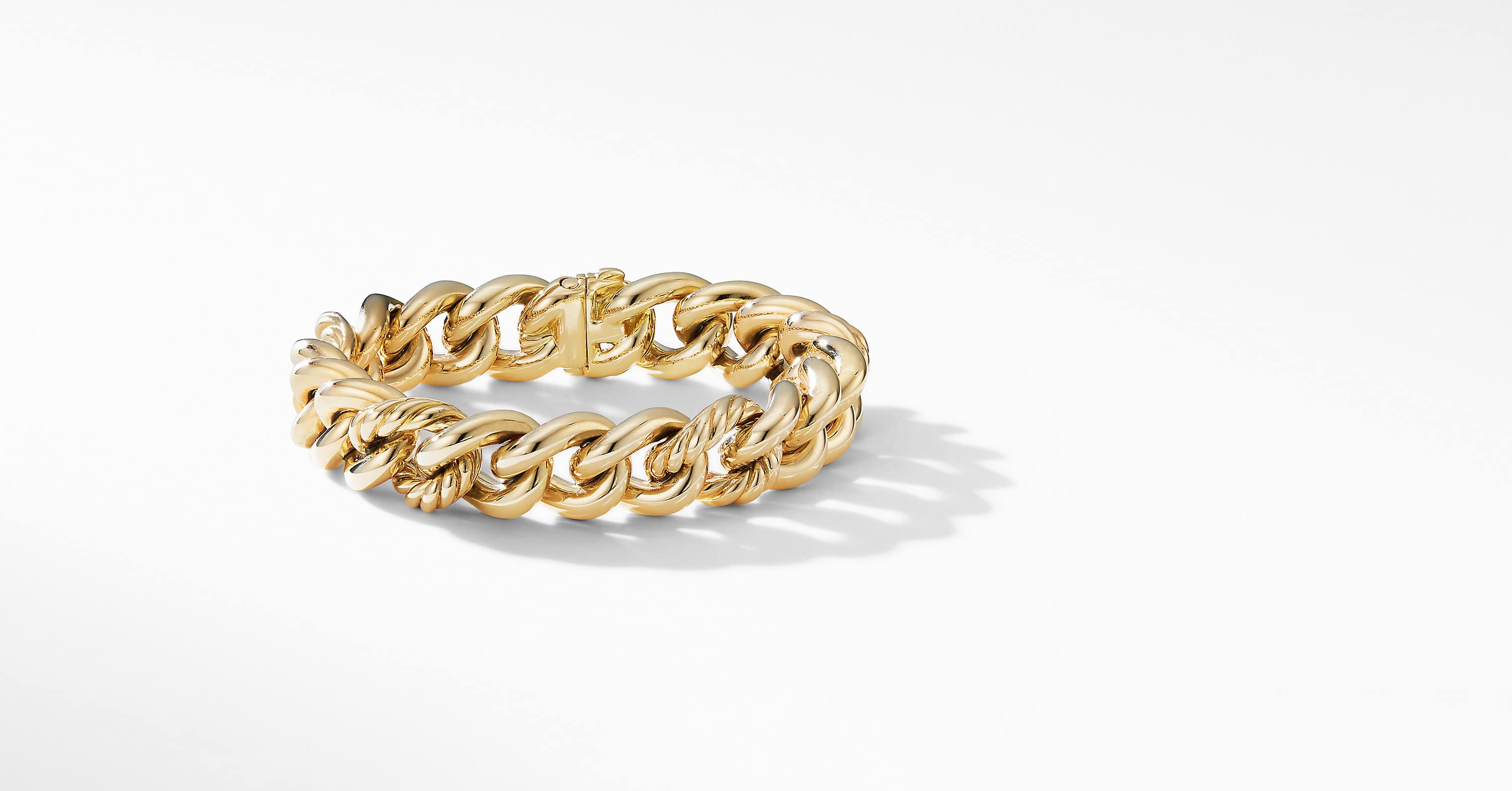 Curb Chain Bracelet in 18K Yellow Gold, 13.5mm
