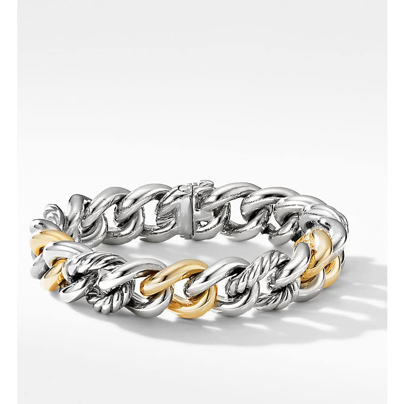 Curb Chain Bracelet with 18K Yellow Gold, 13.5mm