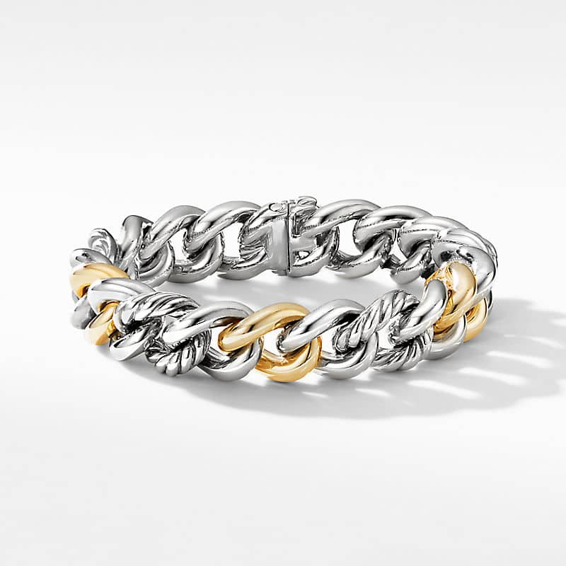 Curb Chain Bracelet with 18K Yellow Gold