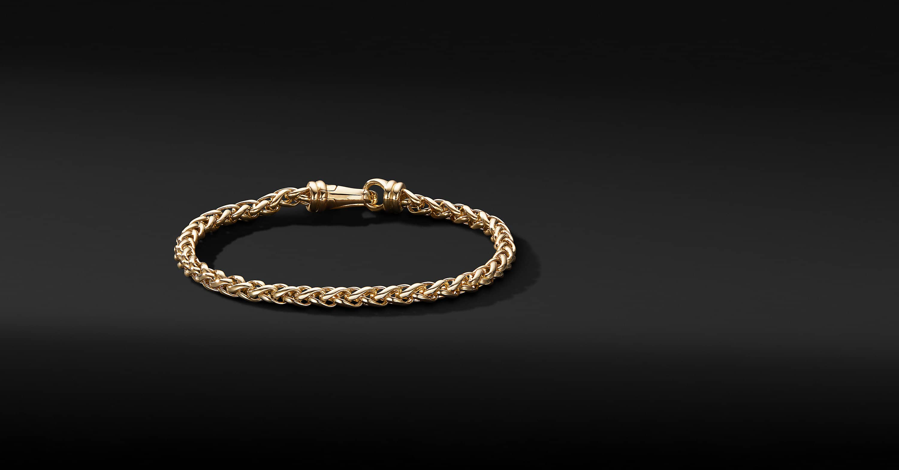 Wheat Chain Bracelet in 18K Yellow Gold, 4mm