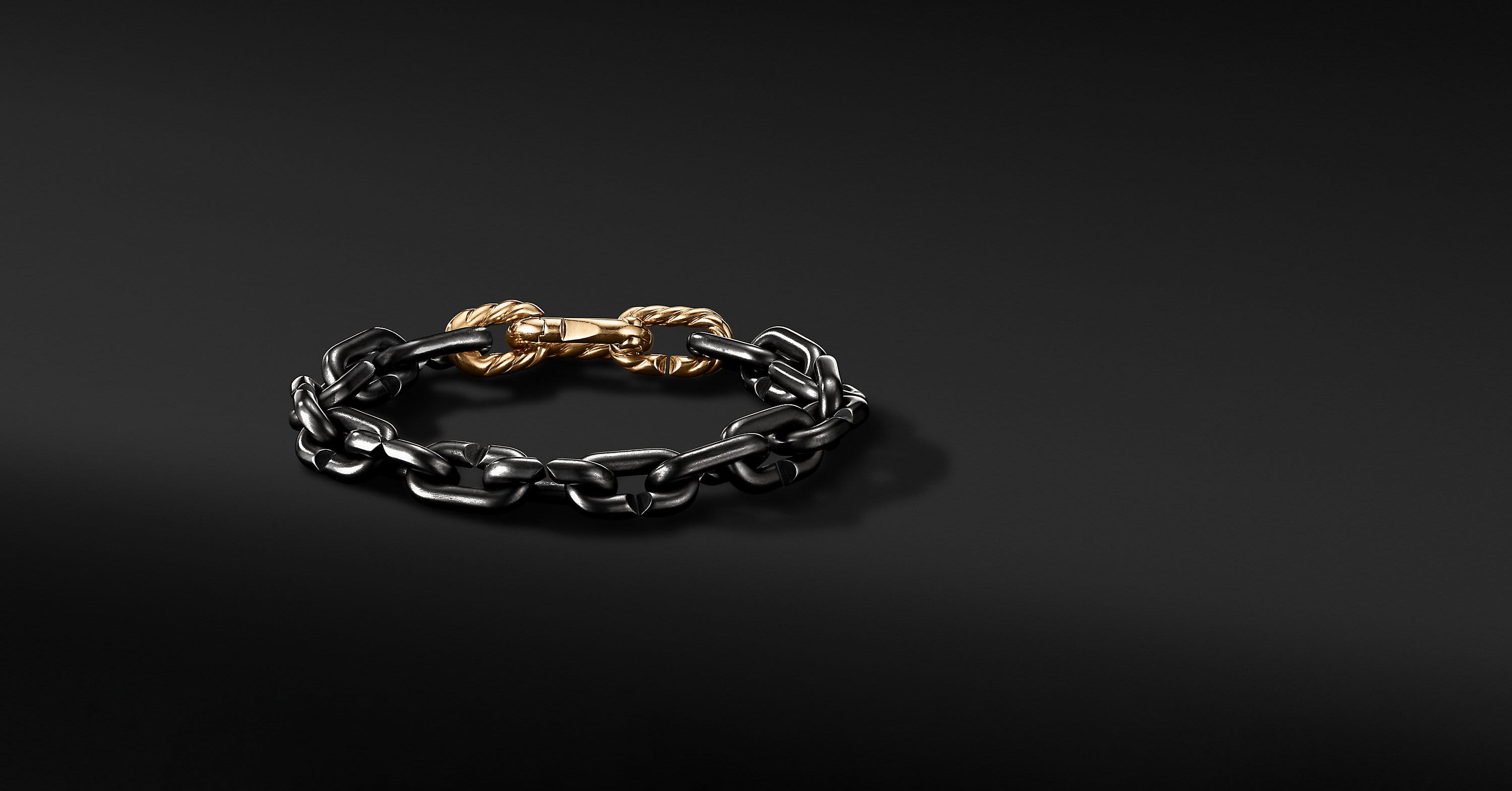 Cable Link Chain Bracelet in Black Titanium with 18K Yellow Gold, 10mm
