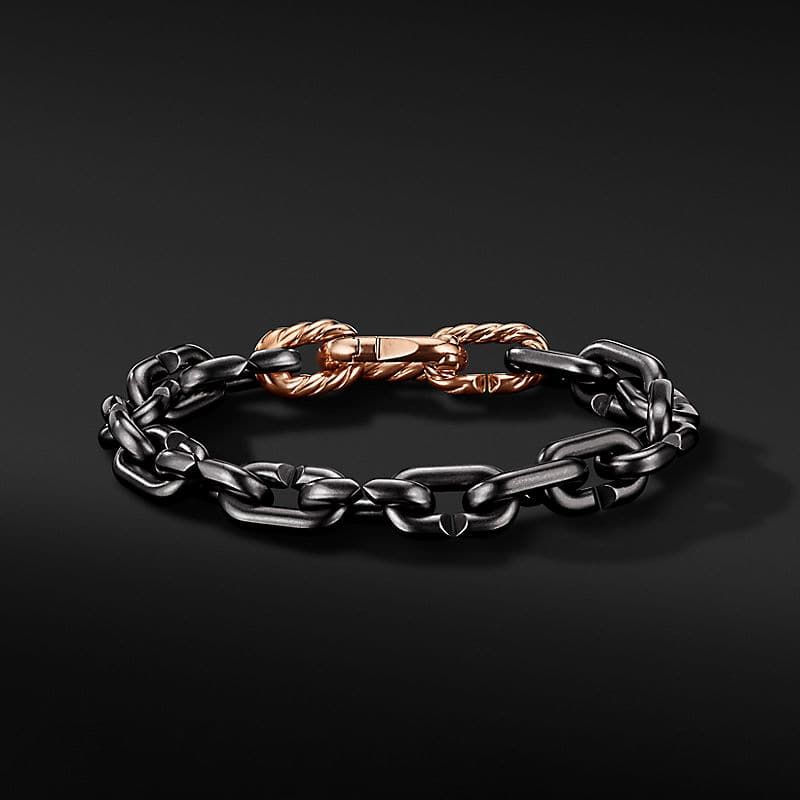 Cable Link Chain Bracelet in Grey Titanium with