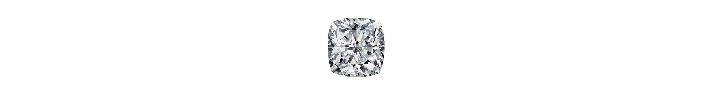 A color photograph shows a close-up shot of a large cushion-cut diamond on a white background.