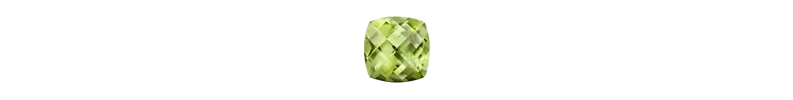 A color photograph shows a close-up shot of a faceted cushion-cut peridot on a white background.