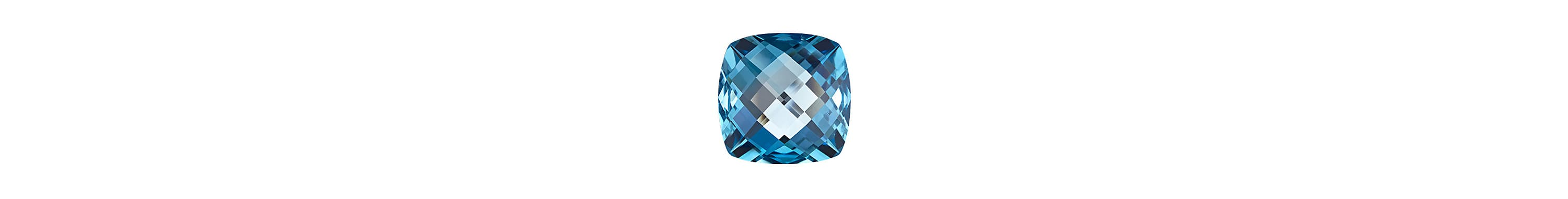 A color photograph shows a close-up shot of an oval-cut blue topaz on a white background.