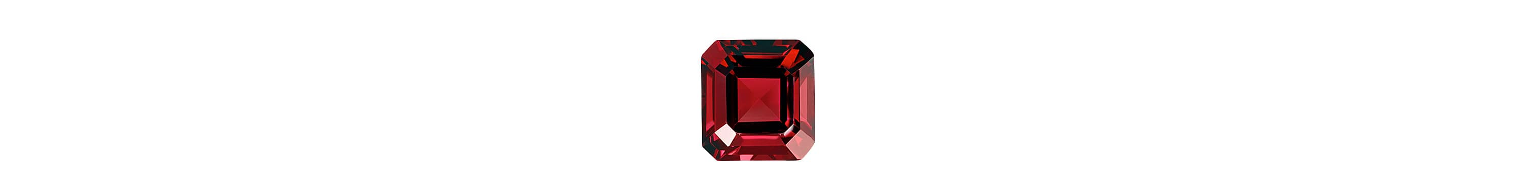 A color photograph shows a close-up shot of a cushion-cut garnet on a white background.