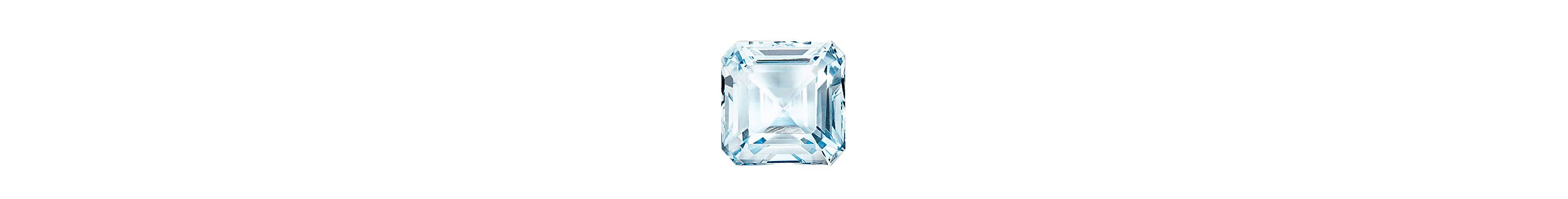A color photograph shows a close-up shot of a cushion-cut aquamarine on a white background.