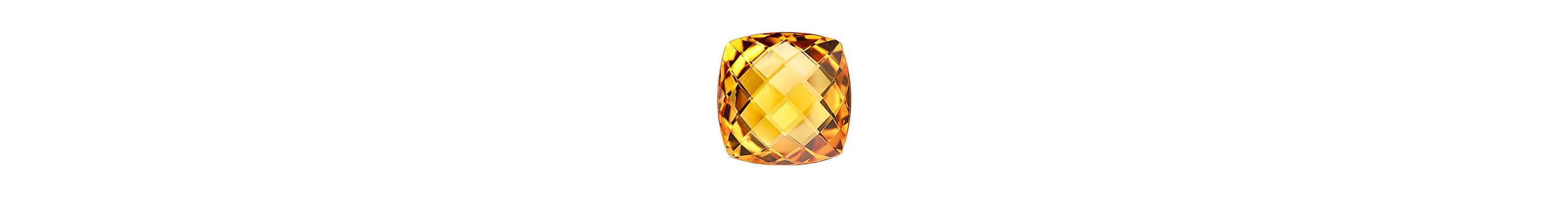 A color photograph shows a close-up shot of a faceted cushion-cut citrine on a white background.