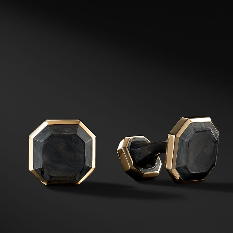 Forged Carbon Cufflinks in 18K Gold