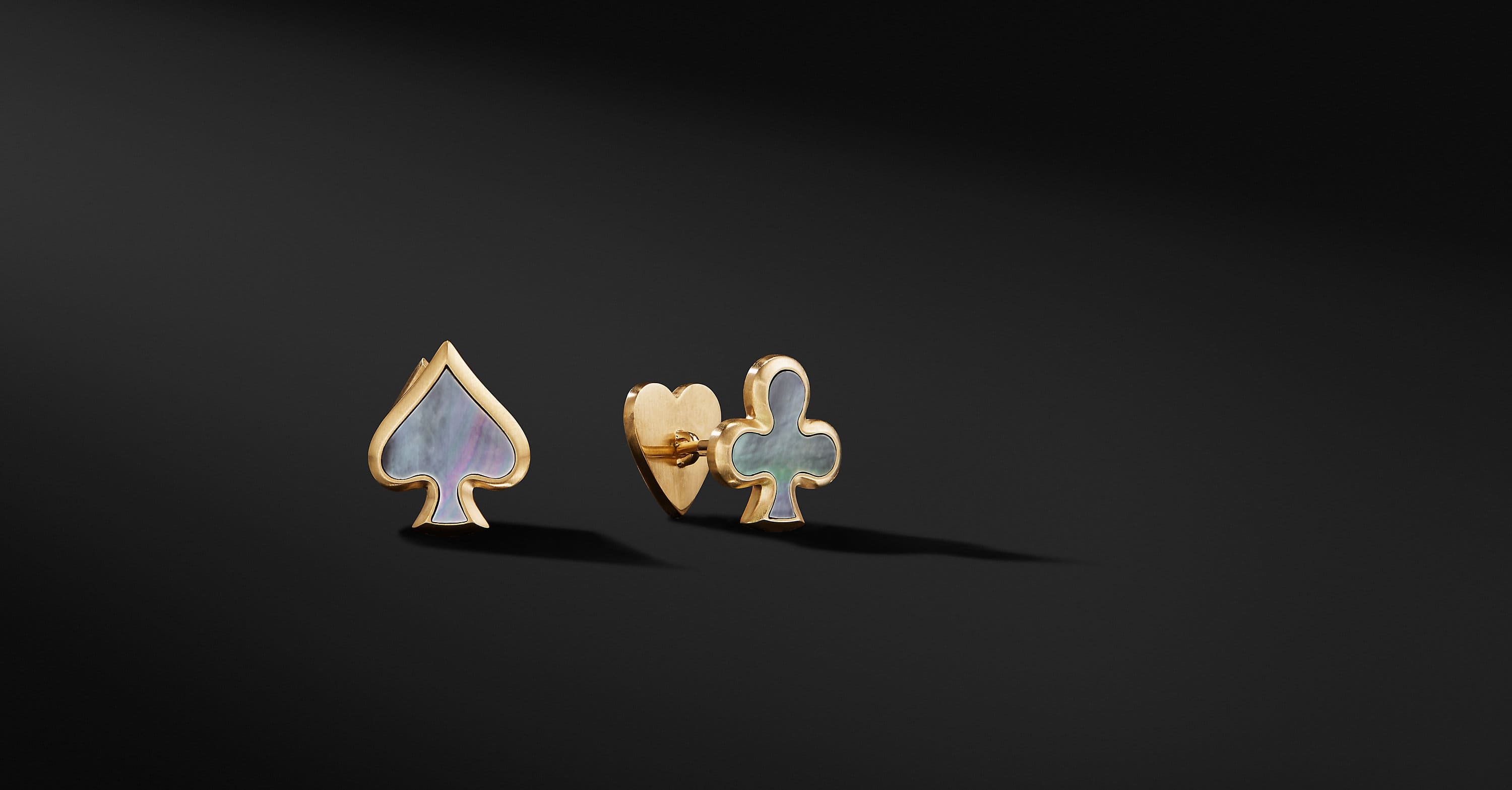 Streamline Playing Card Cufflinks with Black Pearls in 18K Gold