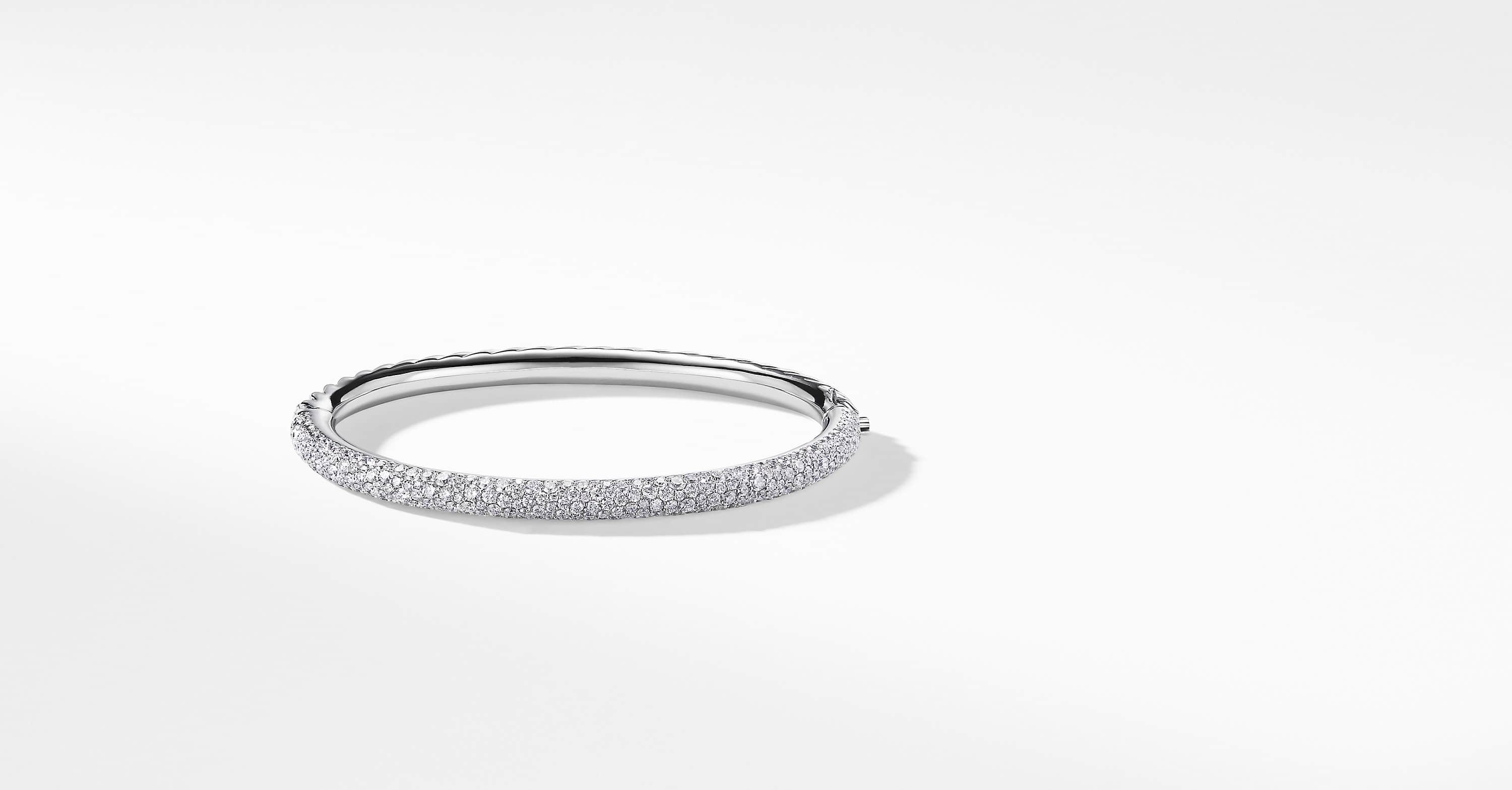 Limited Edition Pavé Cable Bangle in 18K White Gold