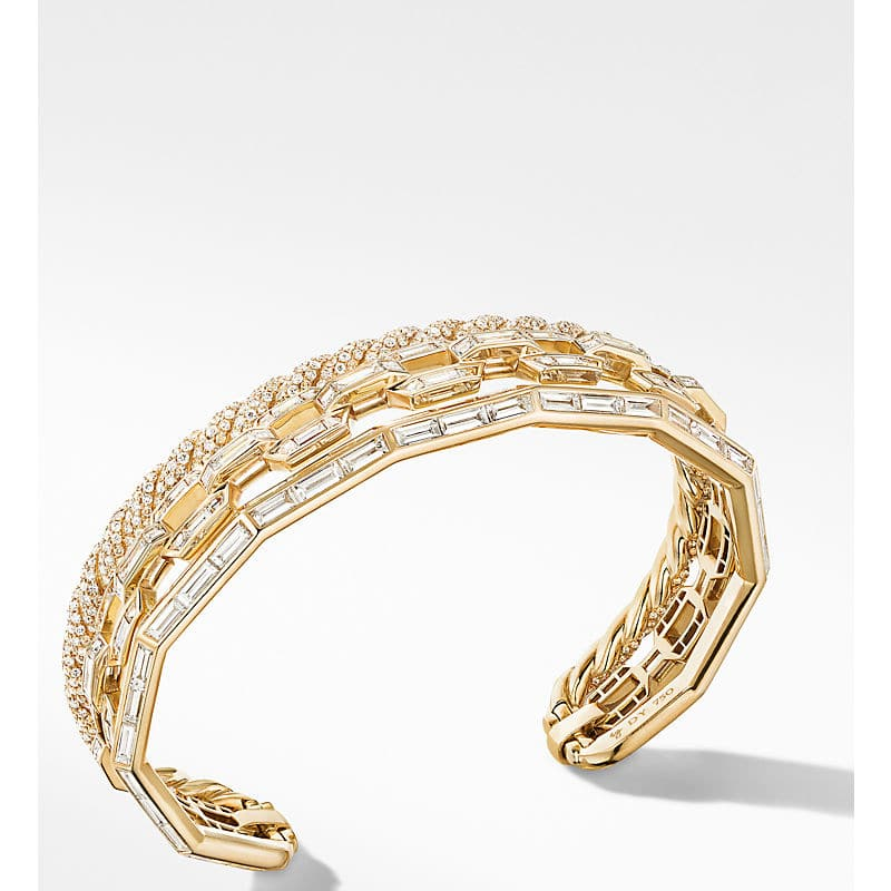 Stax Cuff Bracelet in Yellow Gold with Diamonds