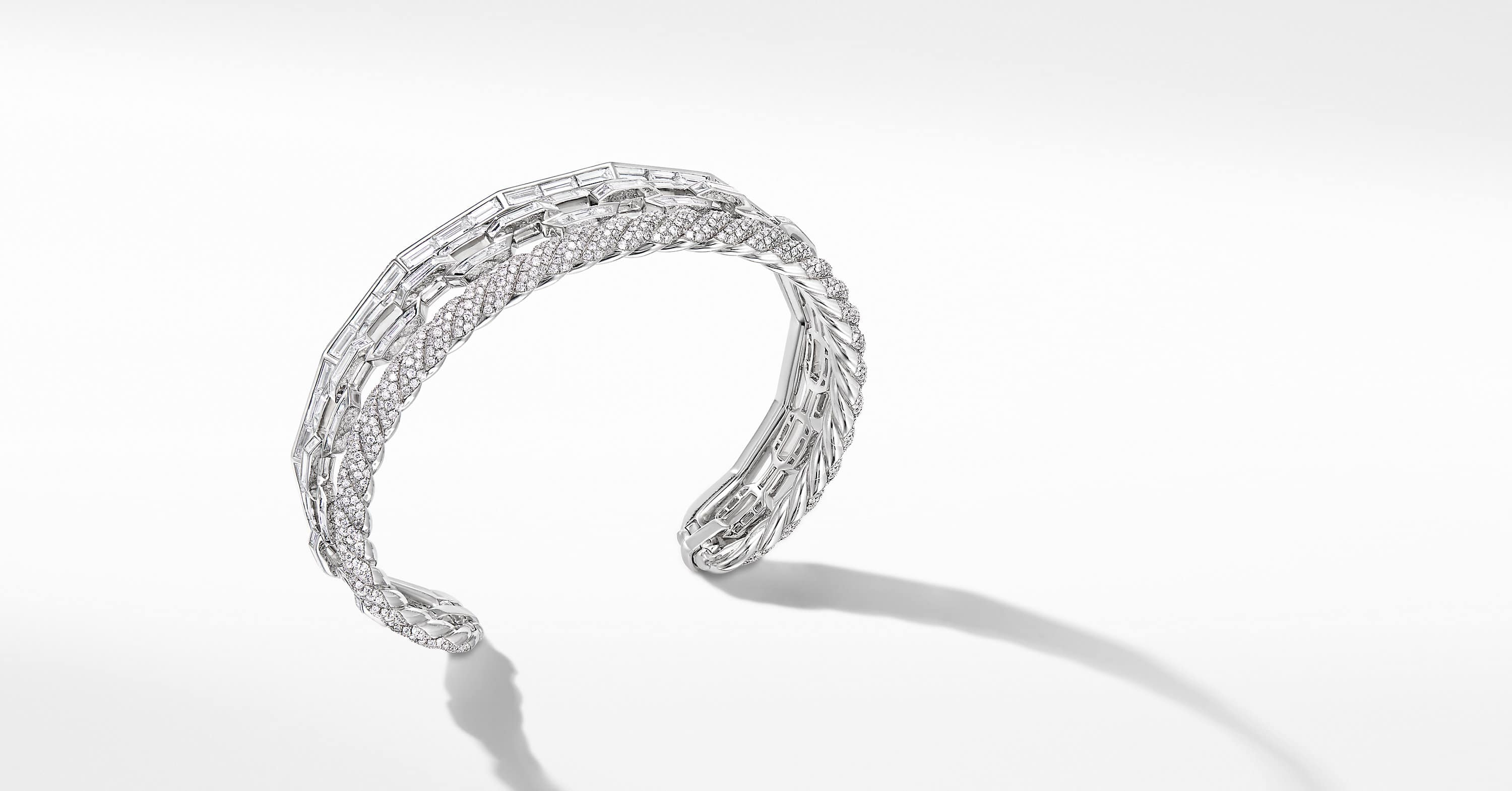 Stax Cuff Bracelet in White Gold with Diamonds