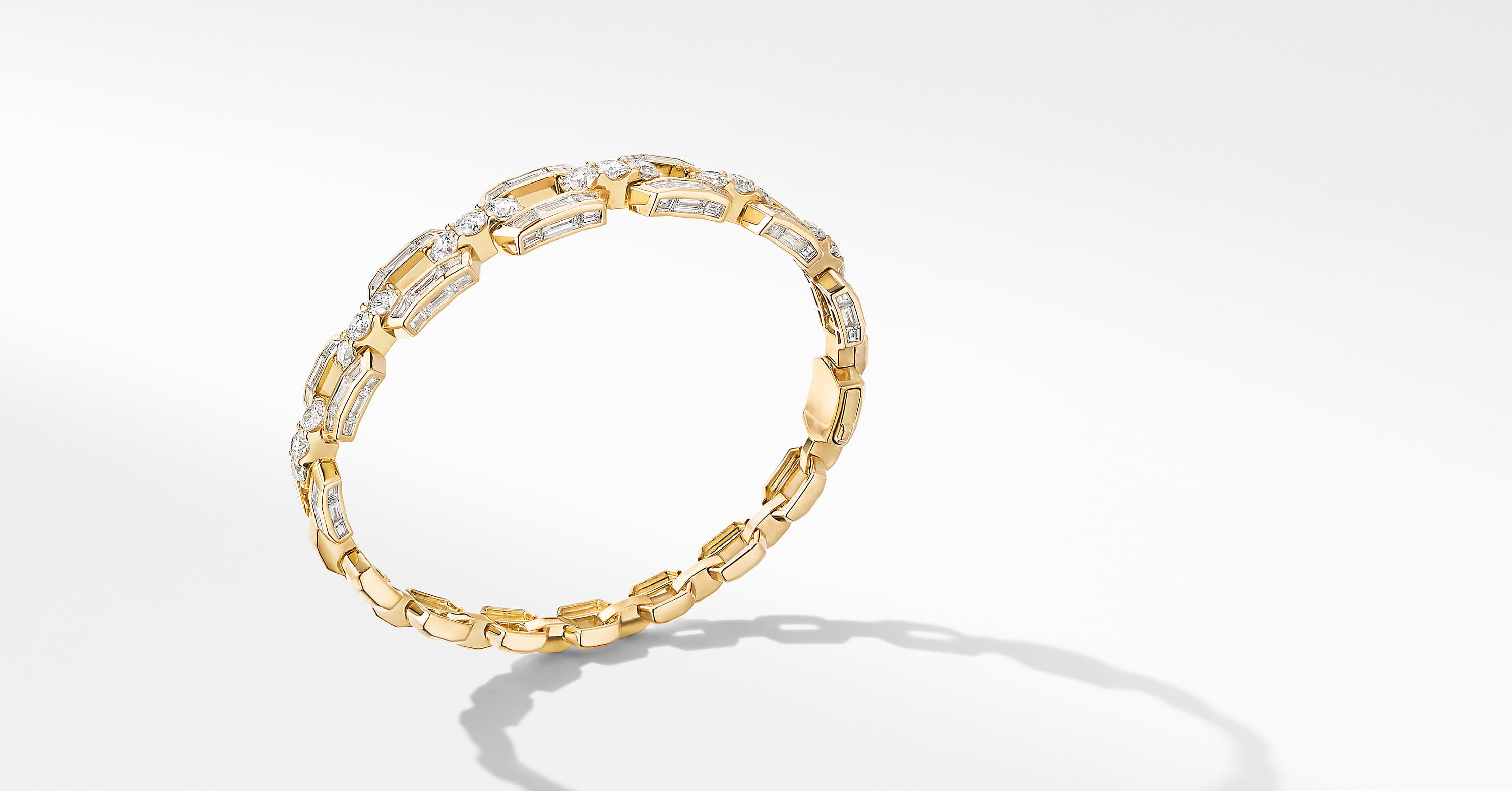 Stax Bangle Bracelet in Yellow Gold with Diamonds