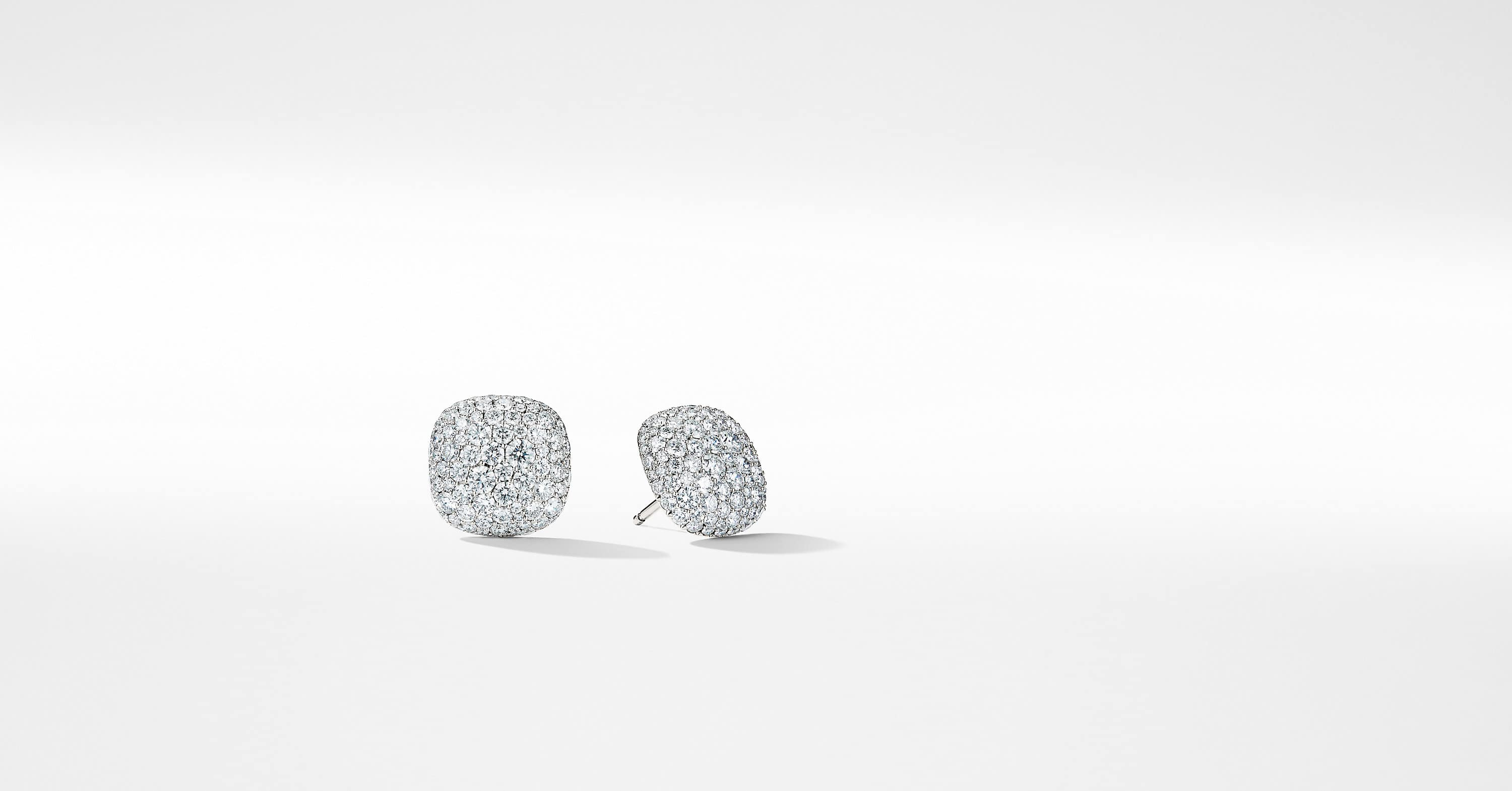 Pave Earrings with Diamonds in 18K White Gold