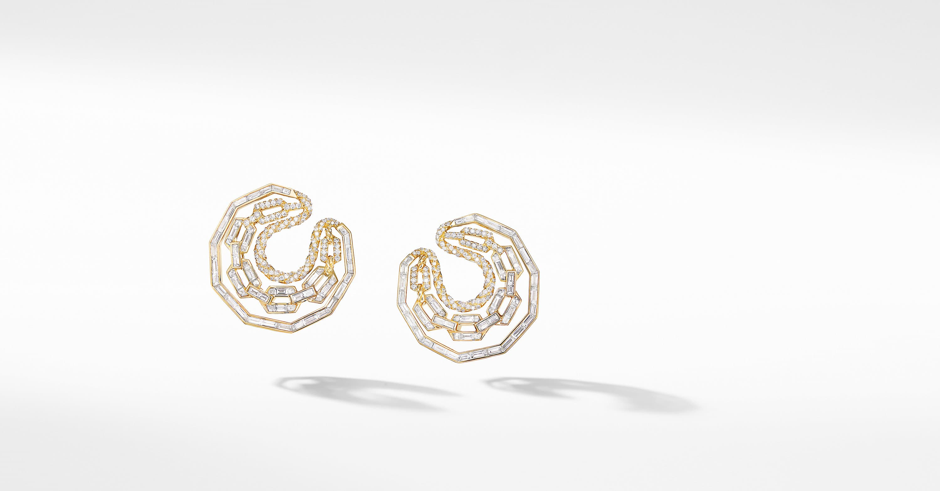 Stax Hoop Earrings in Yellow Gold with Diamonds