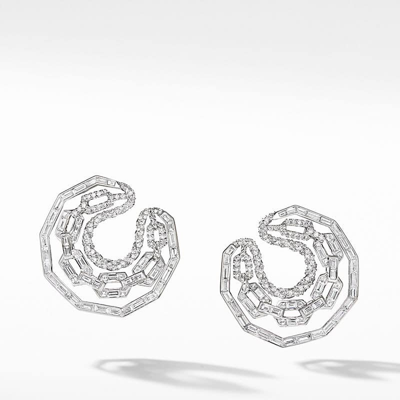 Stax Hoop Earrings in White Gold with Diamonds