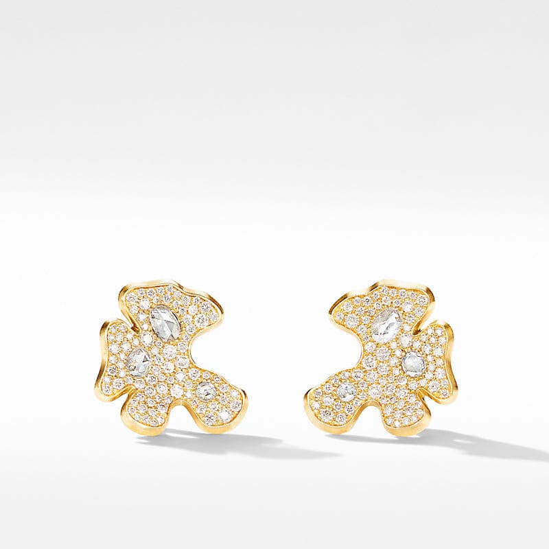 Day Petals Stud Earrings in Yellow Gold with Diamonds