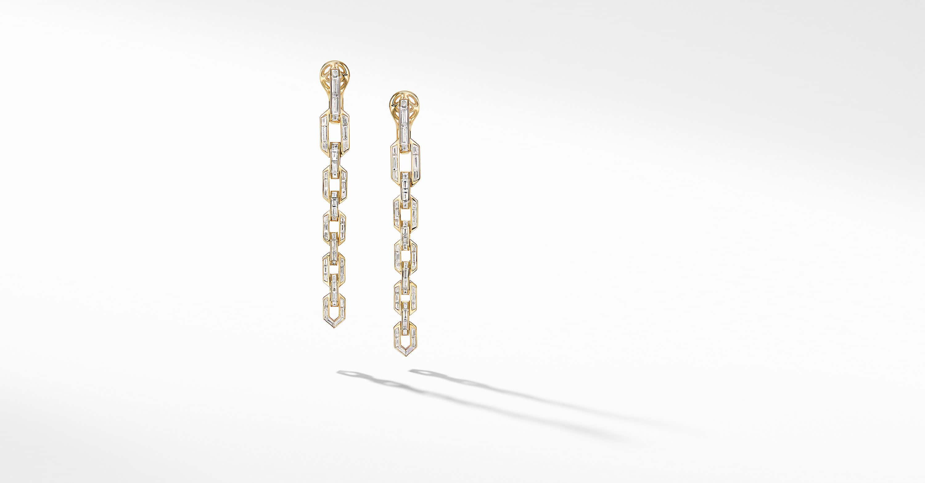 Stax Chain Earrings in Yellow Gold with Diamonds