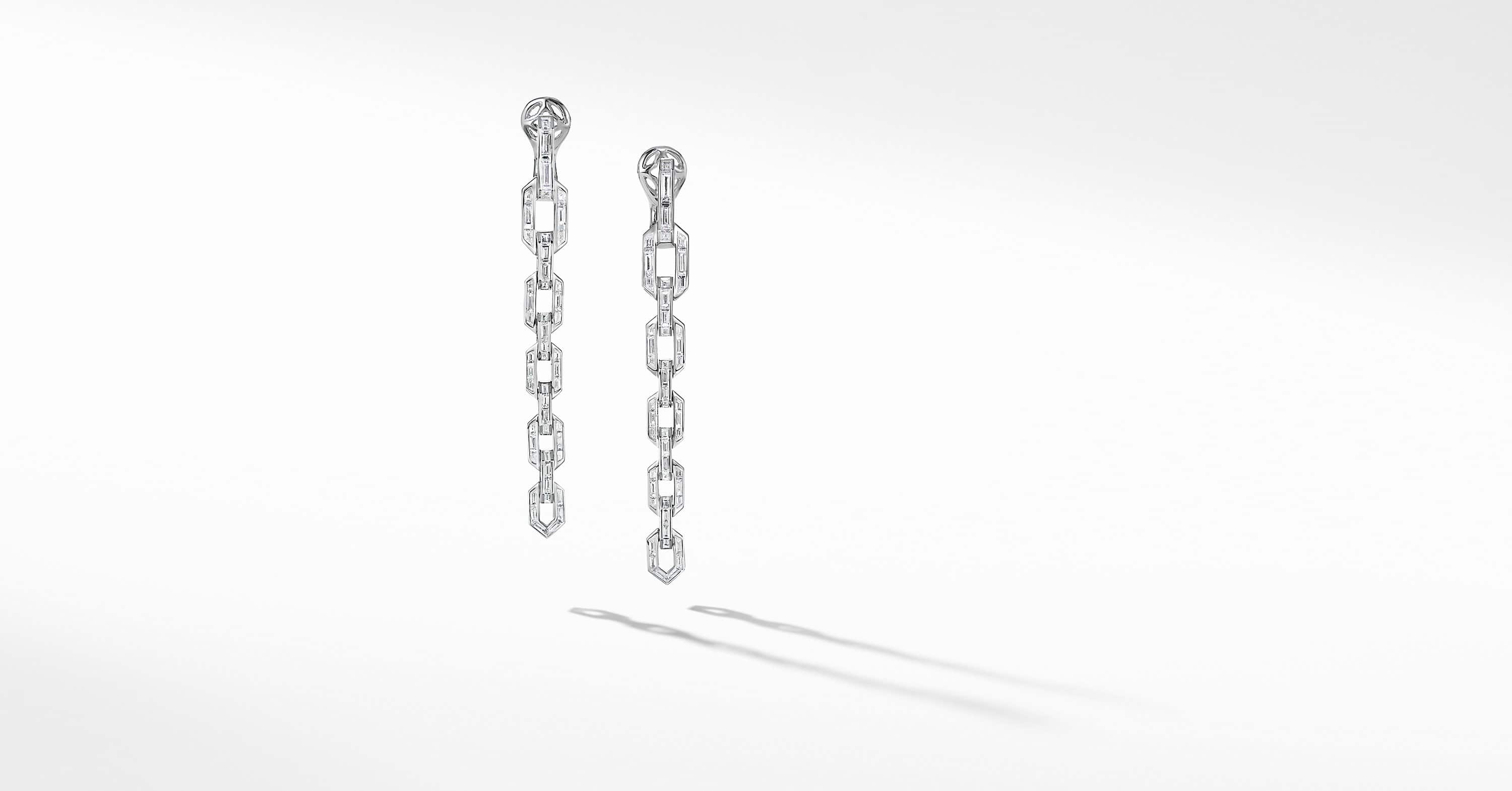 Stax Chain Earrings in White Gold with Diamonds