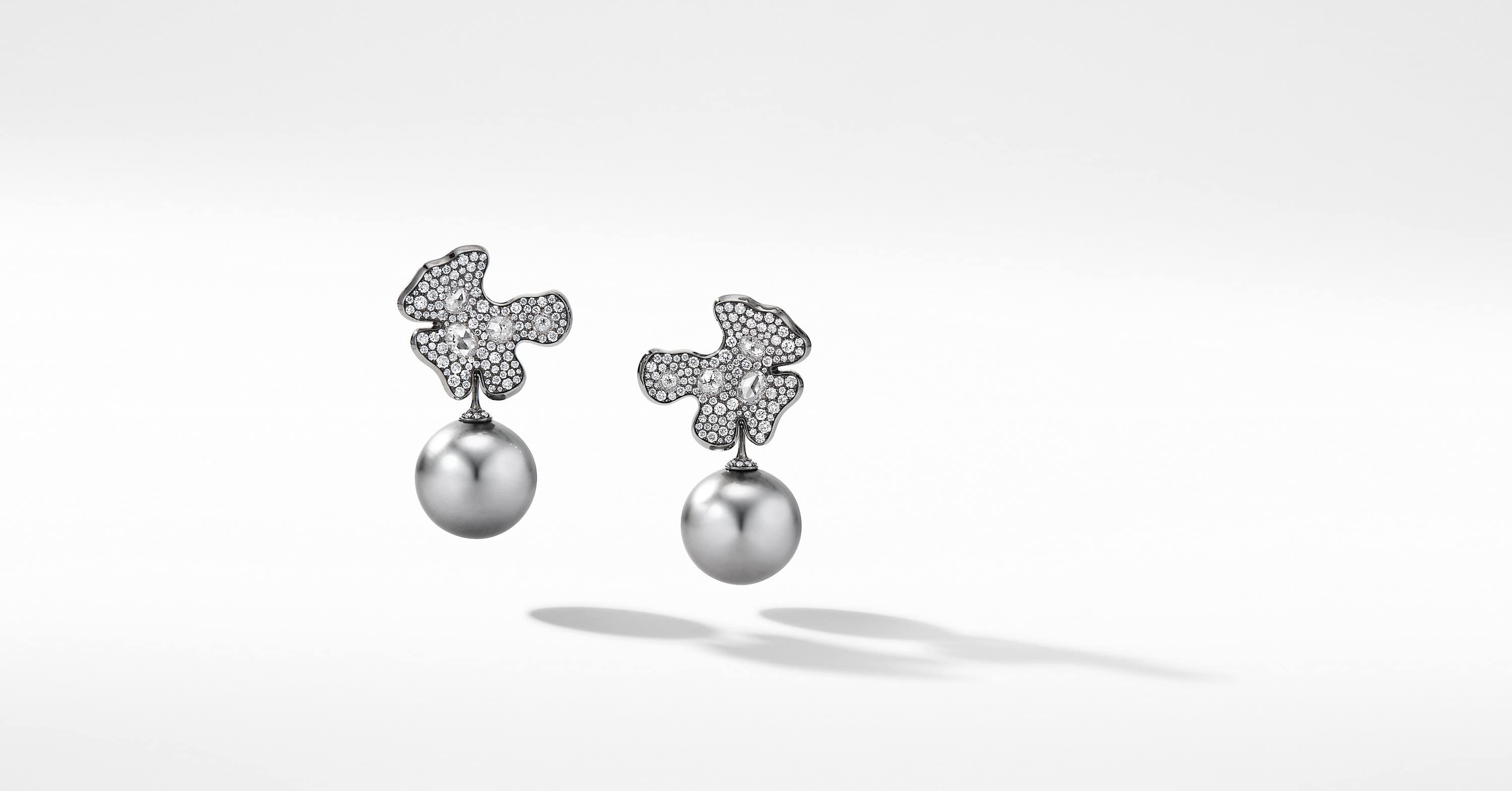 Night Petals Tahitian Pearl Earrings in White Gold with Diamonds