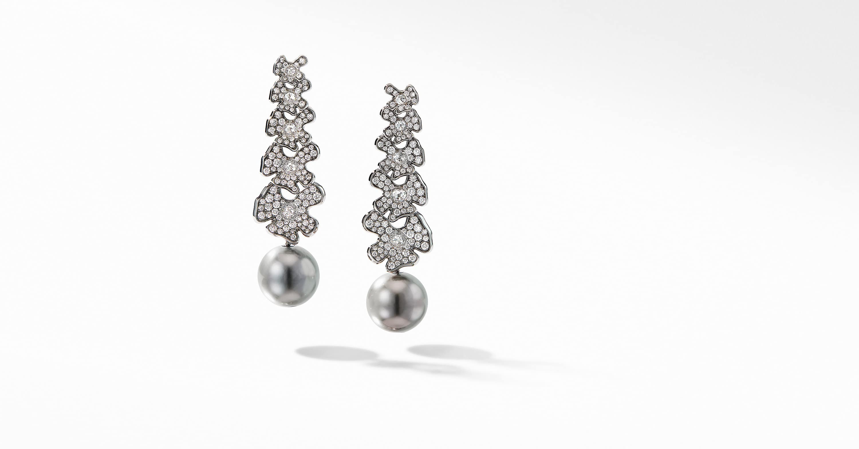 Night Petals Long Pearl Earrings in White Gold with Diamonds