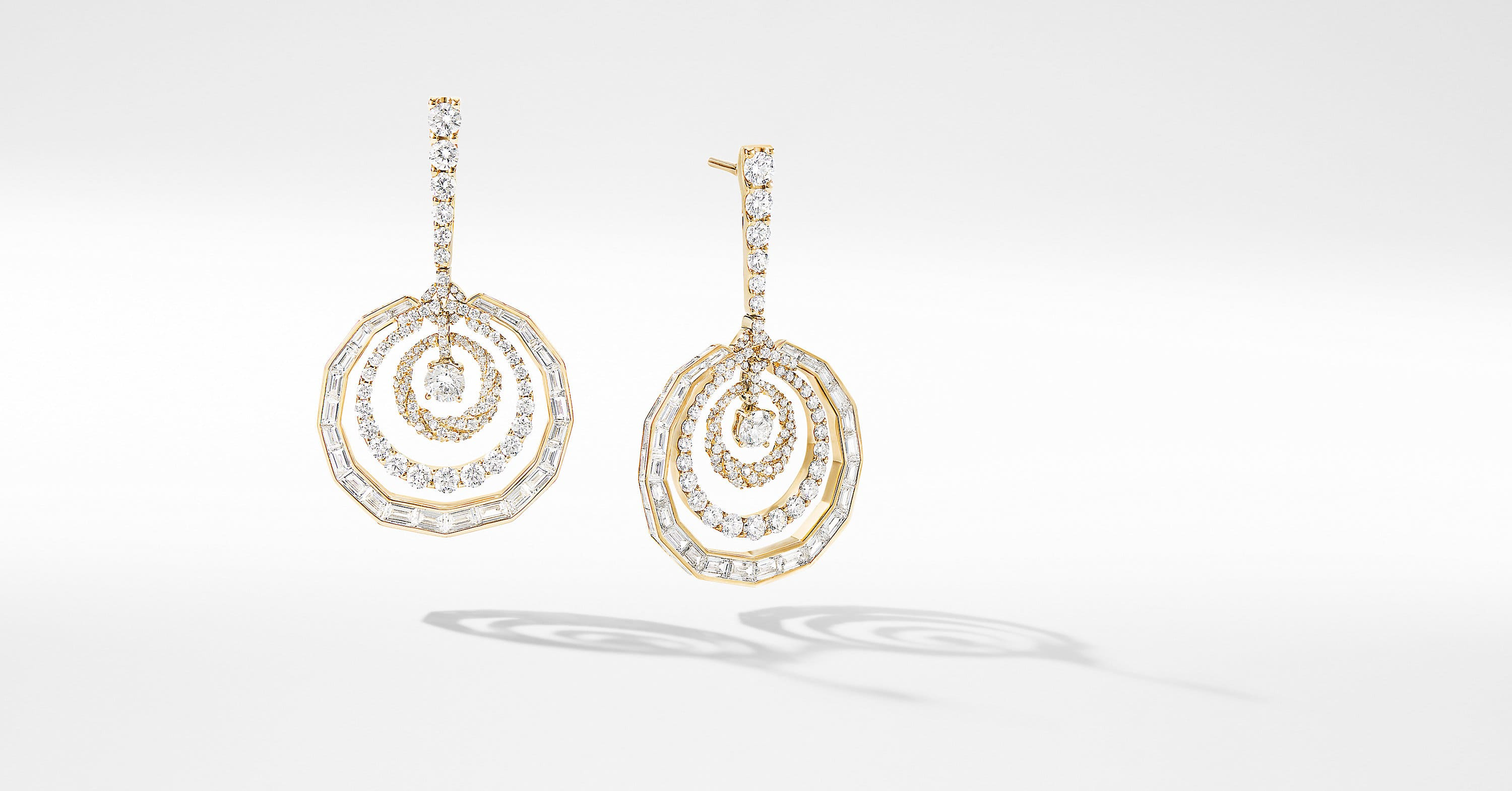 Stax Mixed Cut Chain Earrings in Yellow Gold with Diamonds