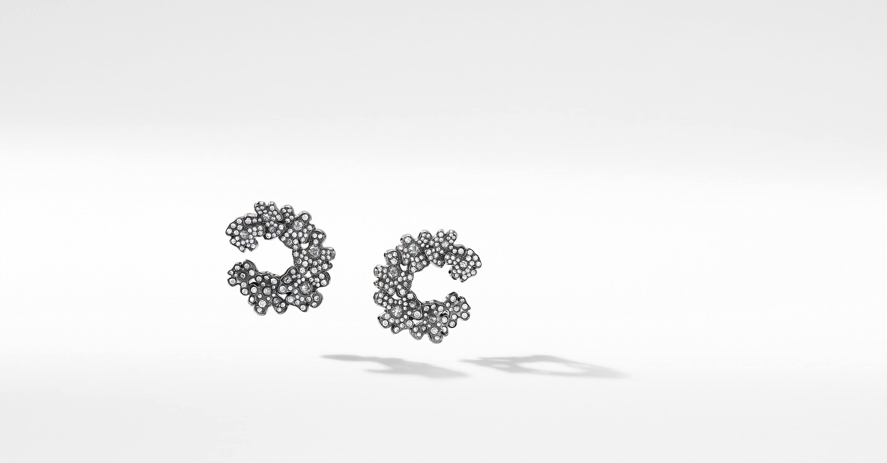 Night Petals Hoop Earrings in White Gold with Diamonds