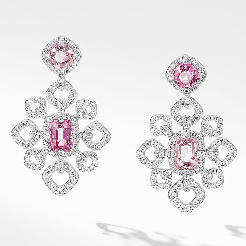 Gems Spinel Chandelier Earrings in White Gold with Diamonds