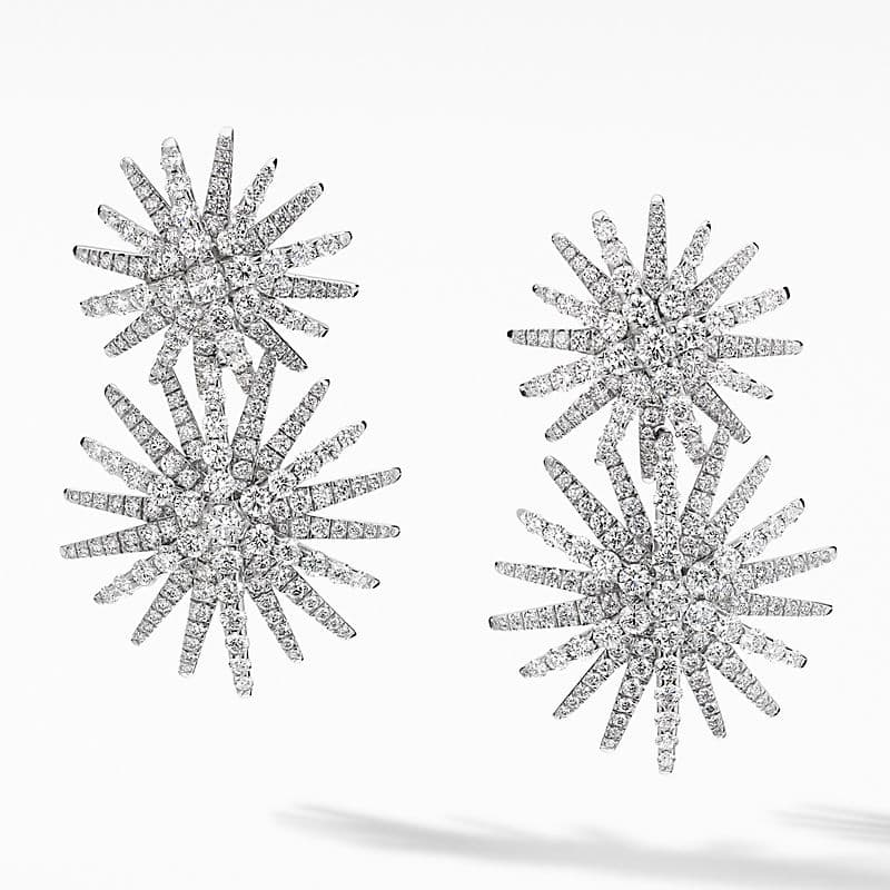 Starburst Double Drop Earrings in 18K White Gold with Pavé