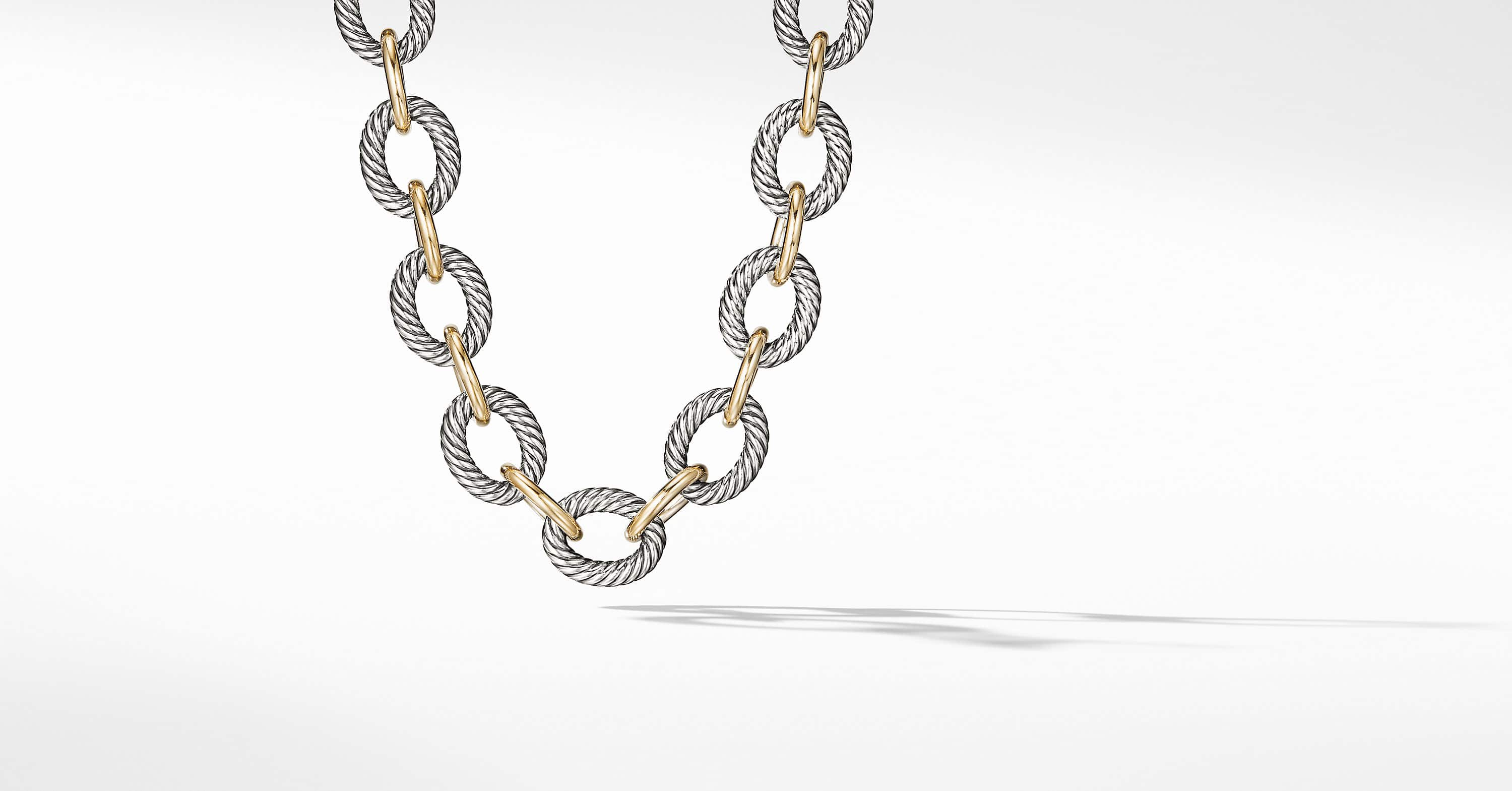 Extra-Large Oval Link Necklace with 18K Gold