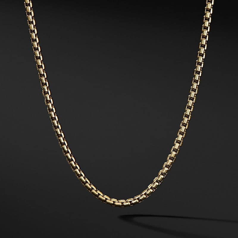 Box Chain Necklace in 18K Yellow Gold, 3.4mm
