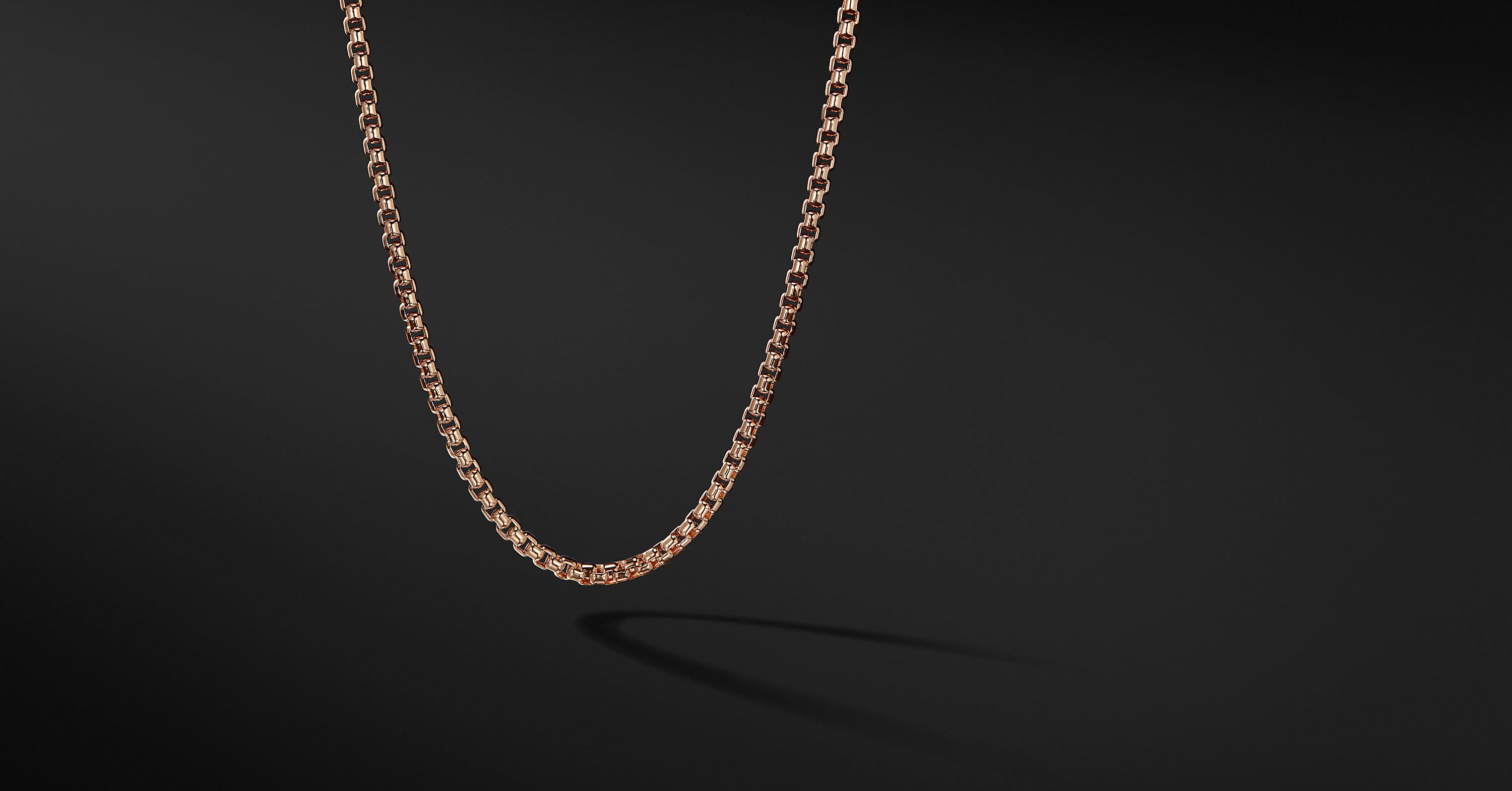 Medium Box Chain Necklace in 18K Rose Gold, 3.4mm