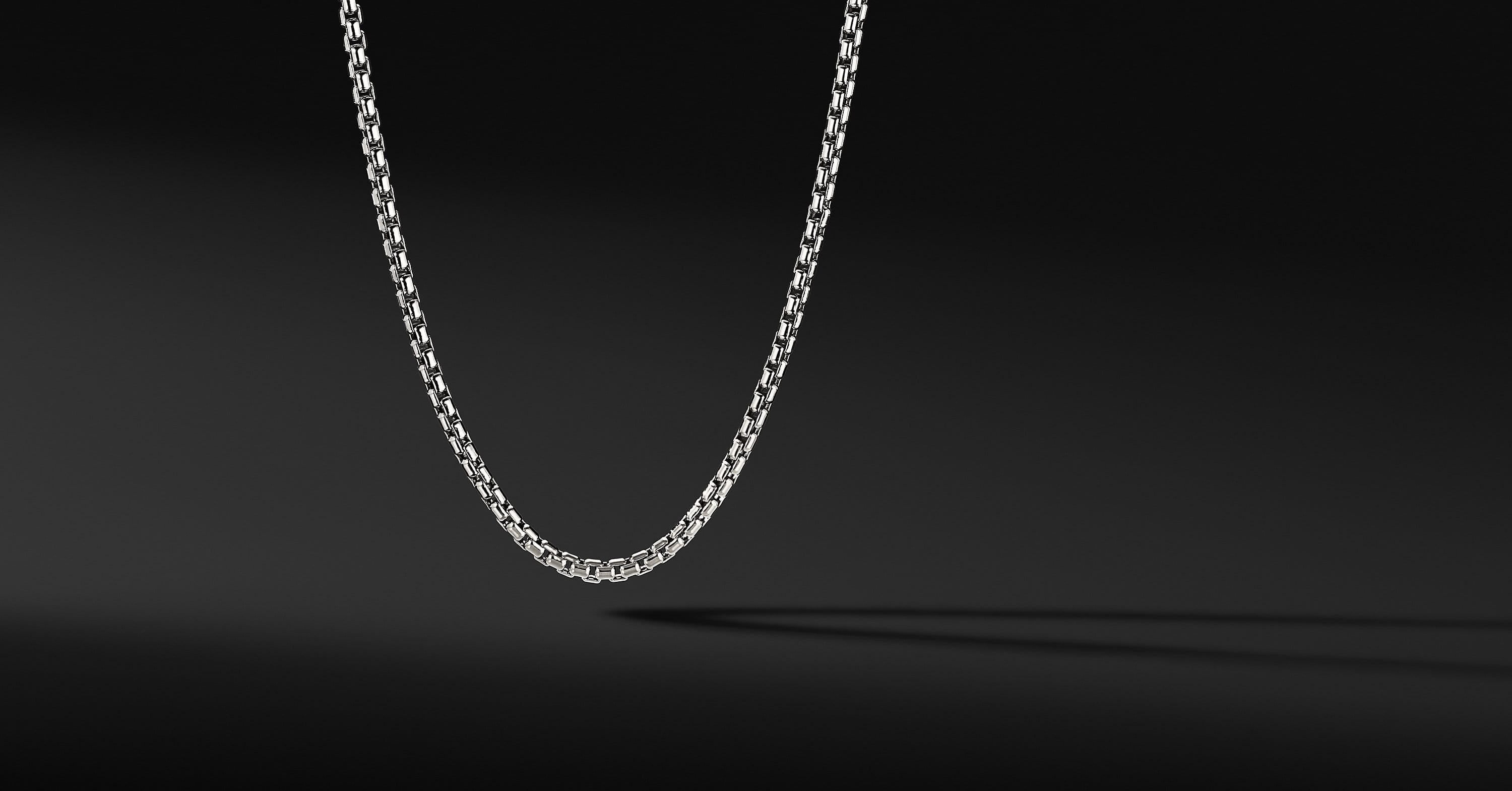 Medium Box Chain in 18K White Gold, 3.4mm