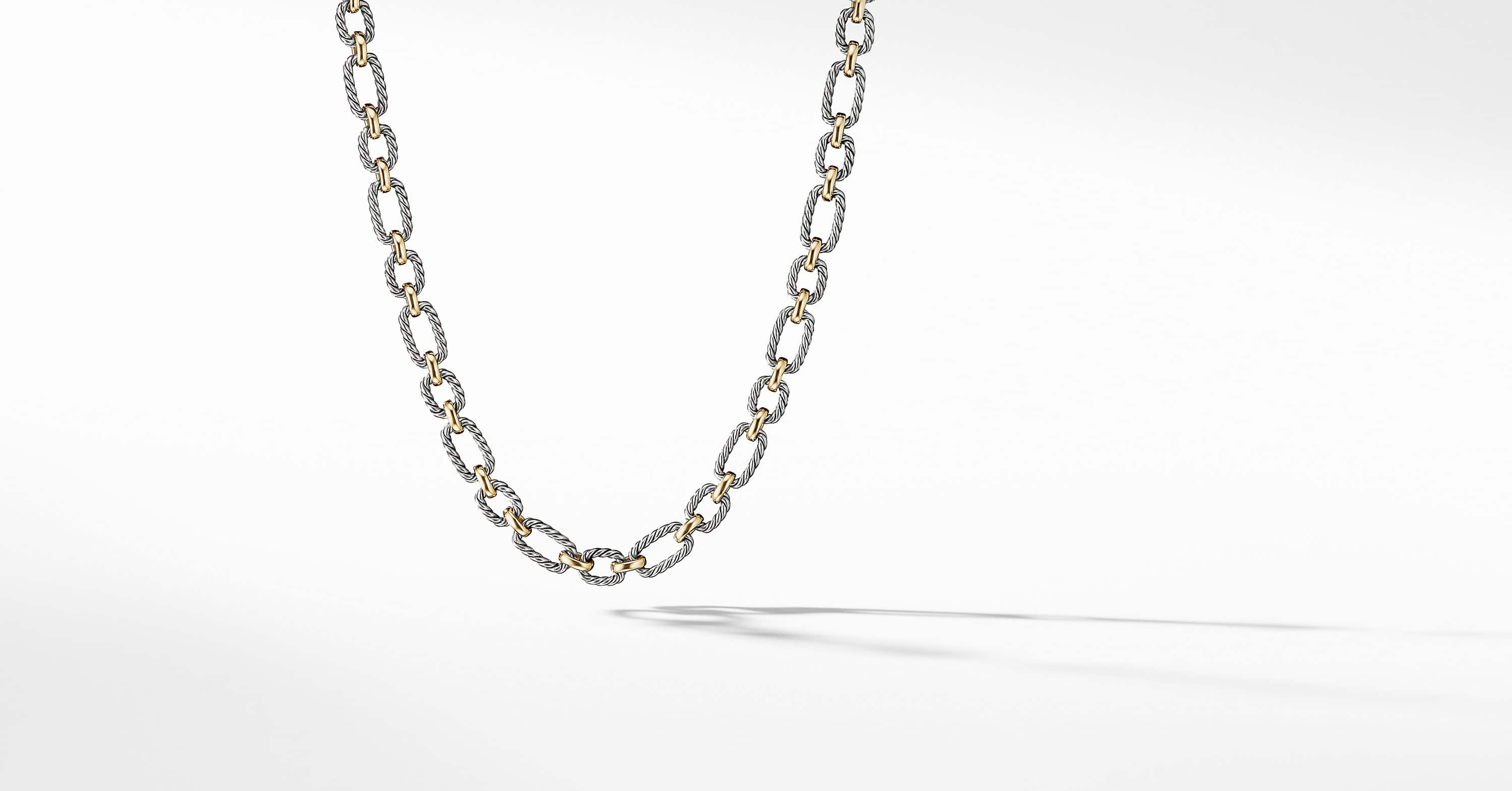 Cushion Link Necklace with 18K Gold, 9.5mm