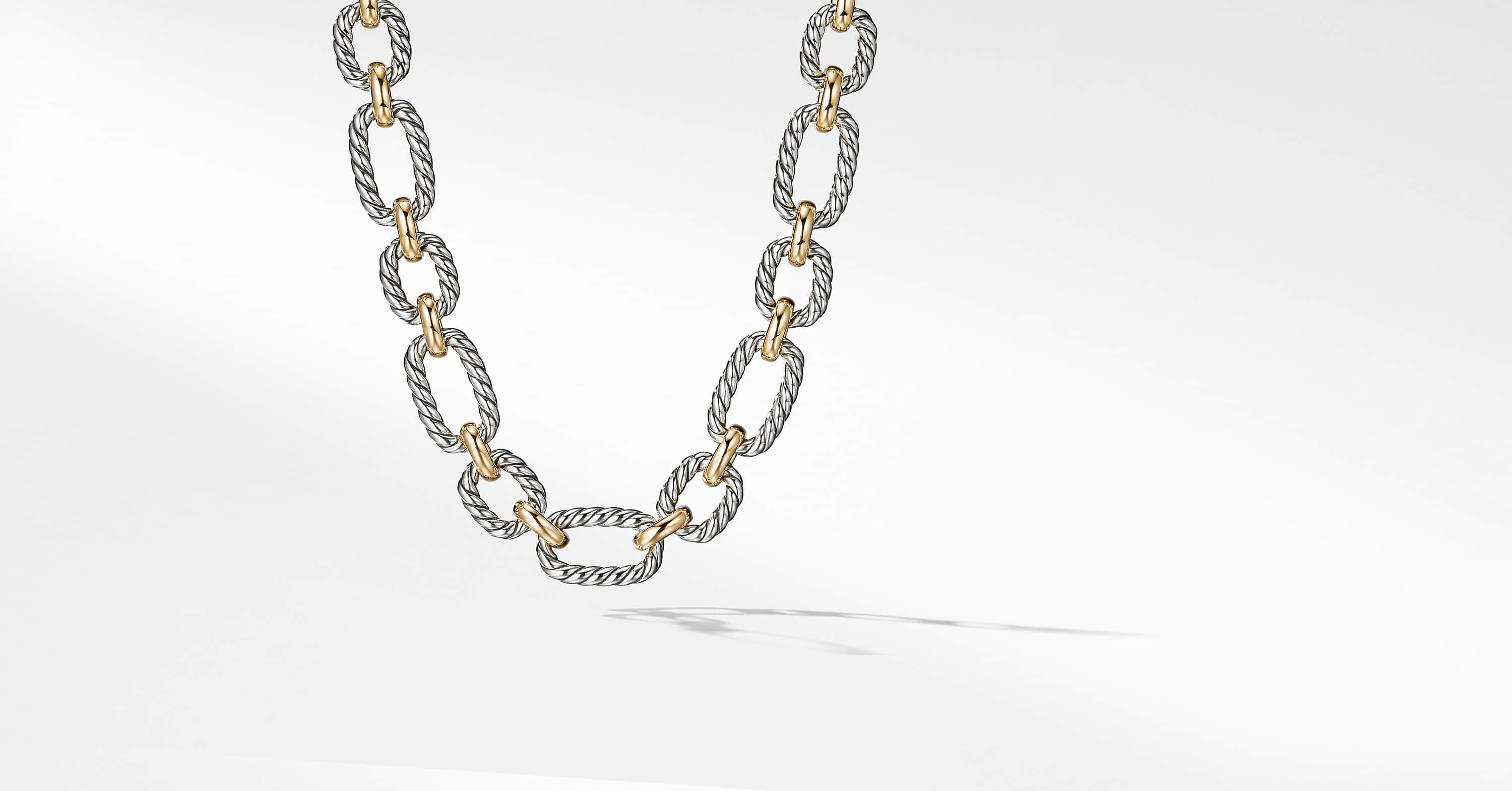 Cushion Link Necklace with 18K Gold, 12.5mm