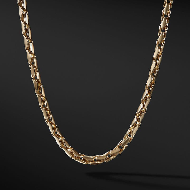 Medium Fluted Chain Necklace in 18K Gold, 5mm