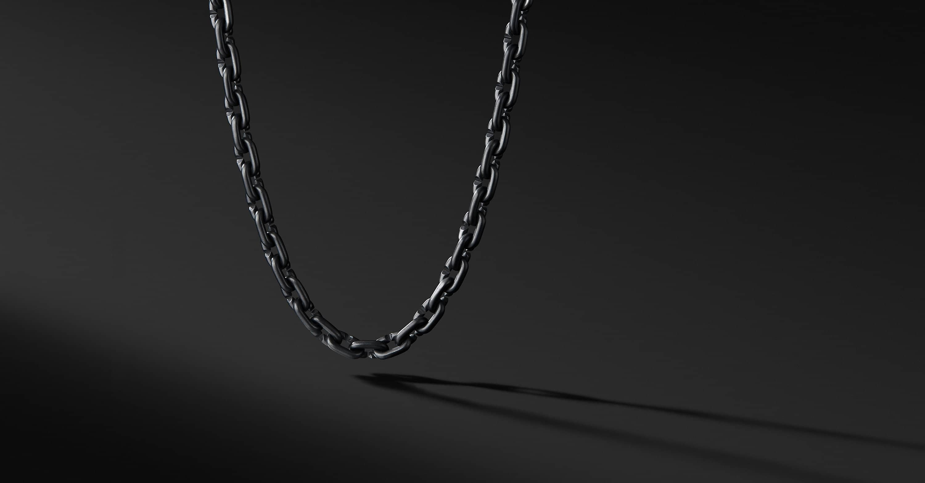 Chain Link Narrow Necklace with Black Titanium