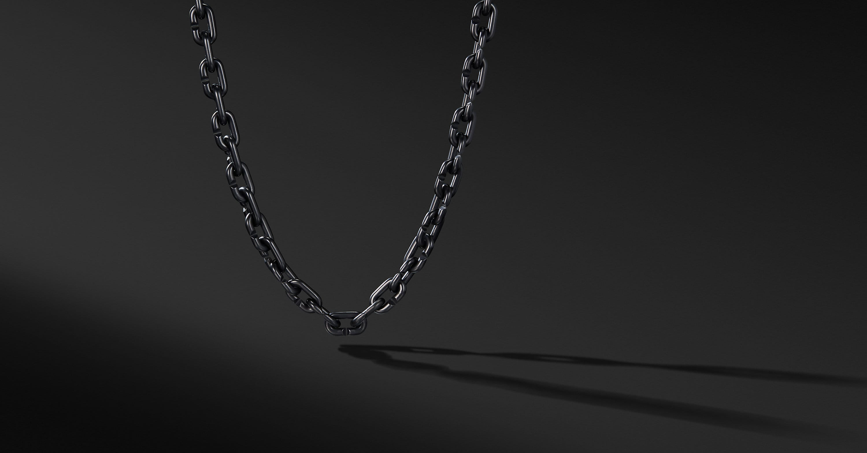 Chain Link Bold Necklace with Black Titanium