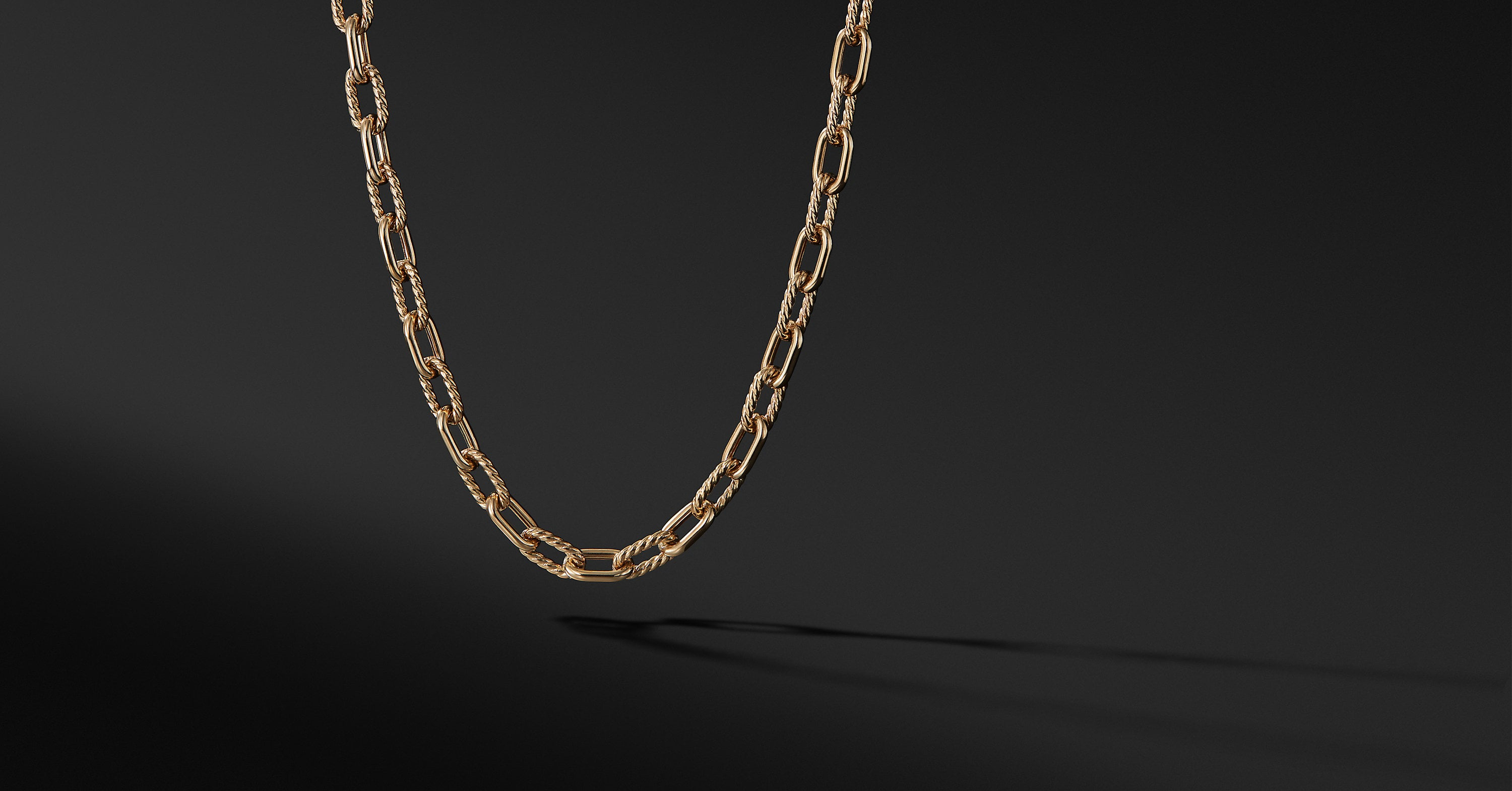 Chain and Cable Link Necklace in 18K Yellow Gold