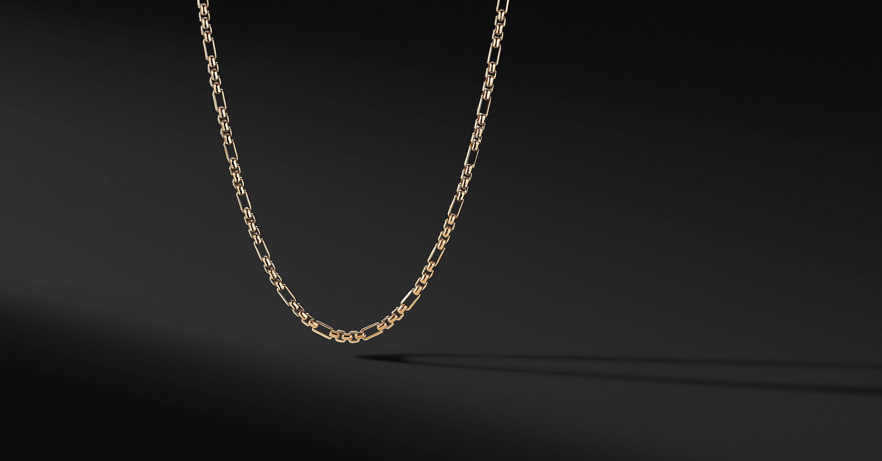 Open Station Box Chain in 18K Yellow Gold, 3mm