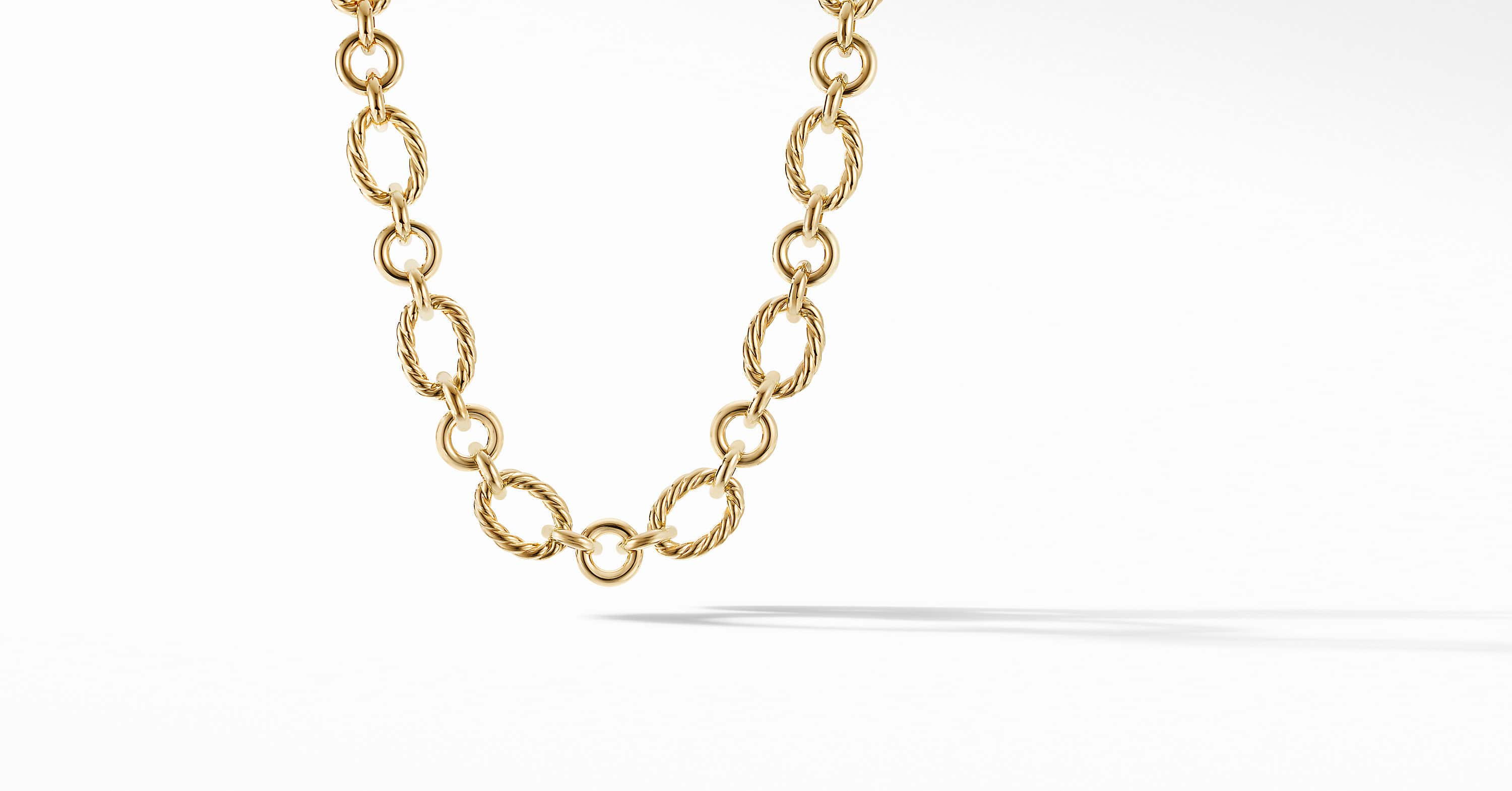 Cable and Smooth Chain Link in 18K Yellow Gold, 20mm