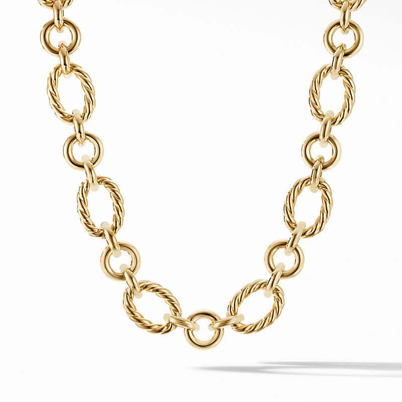 Cable and Smooth Chain Link in 18K Yellow