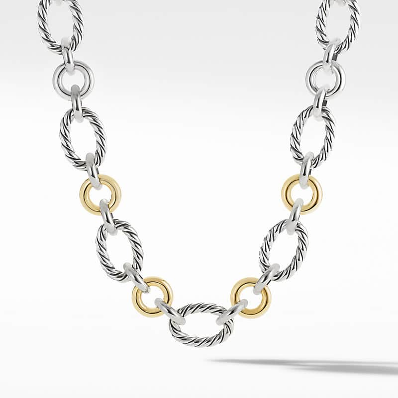 Cable and Smooth Chain Link Necklace, 20mm