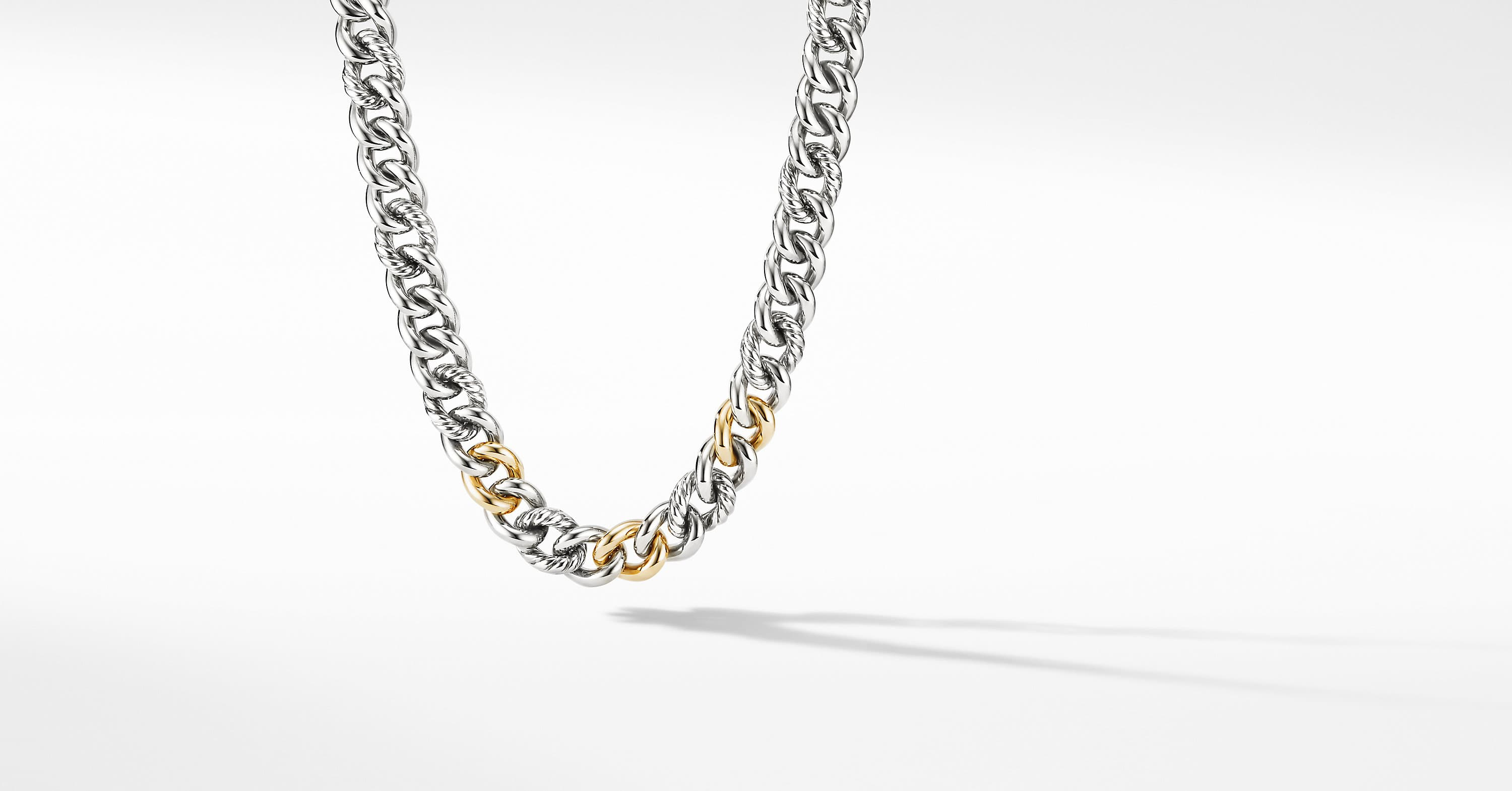 Curb Chain Necklace with 14K Yellow Gold, 13.5mm