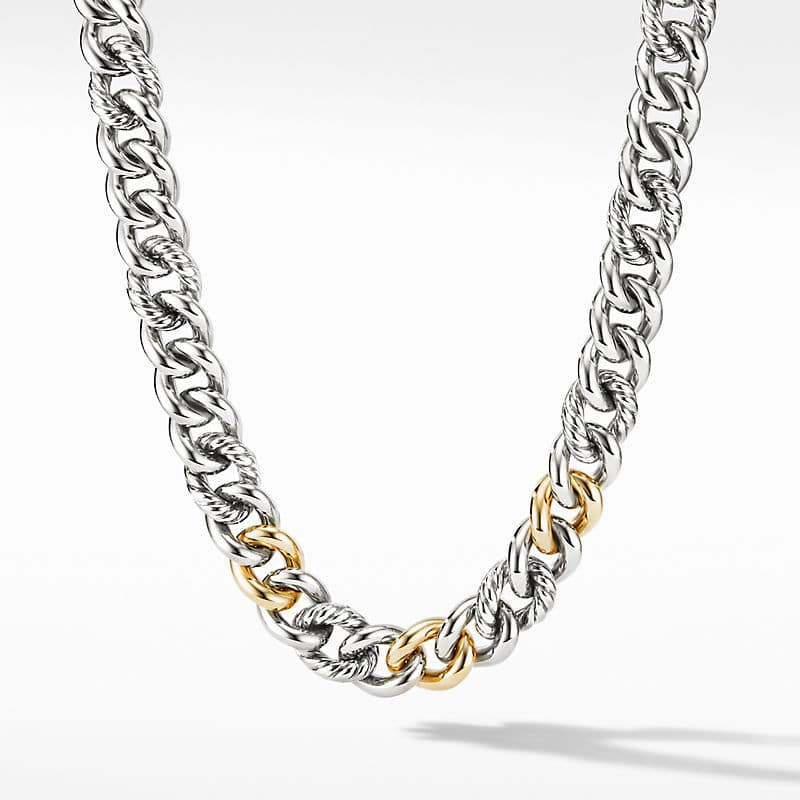Curb Chain Necklace with 18K Yellow Gold, 13.5mm