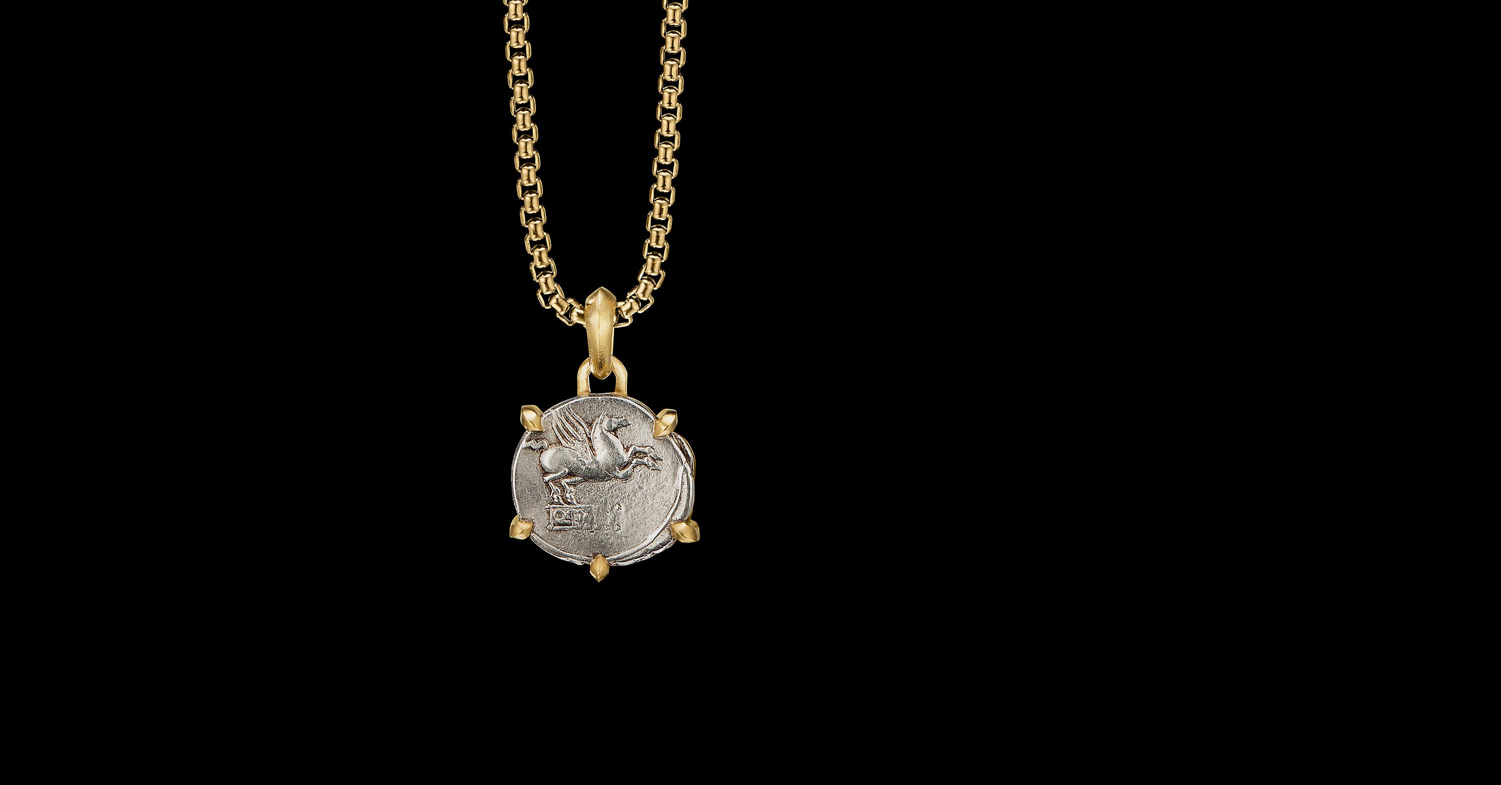 EY SignaturePegasus Coin Amulet with 22K Yellow Gold