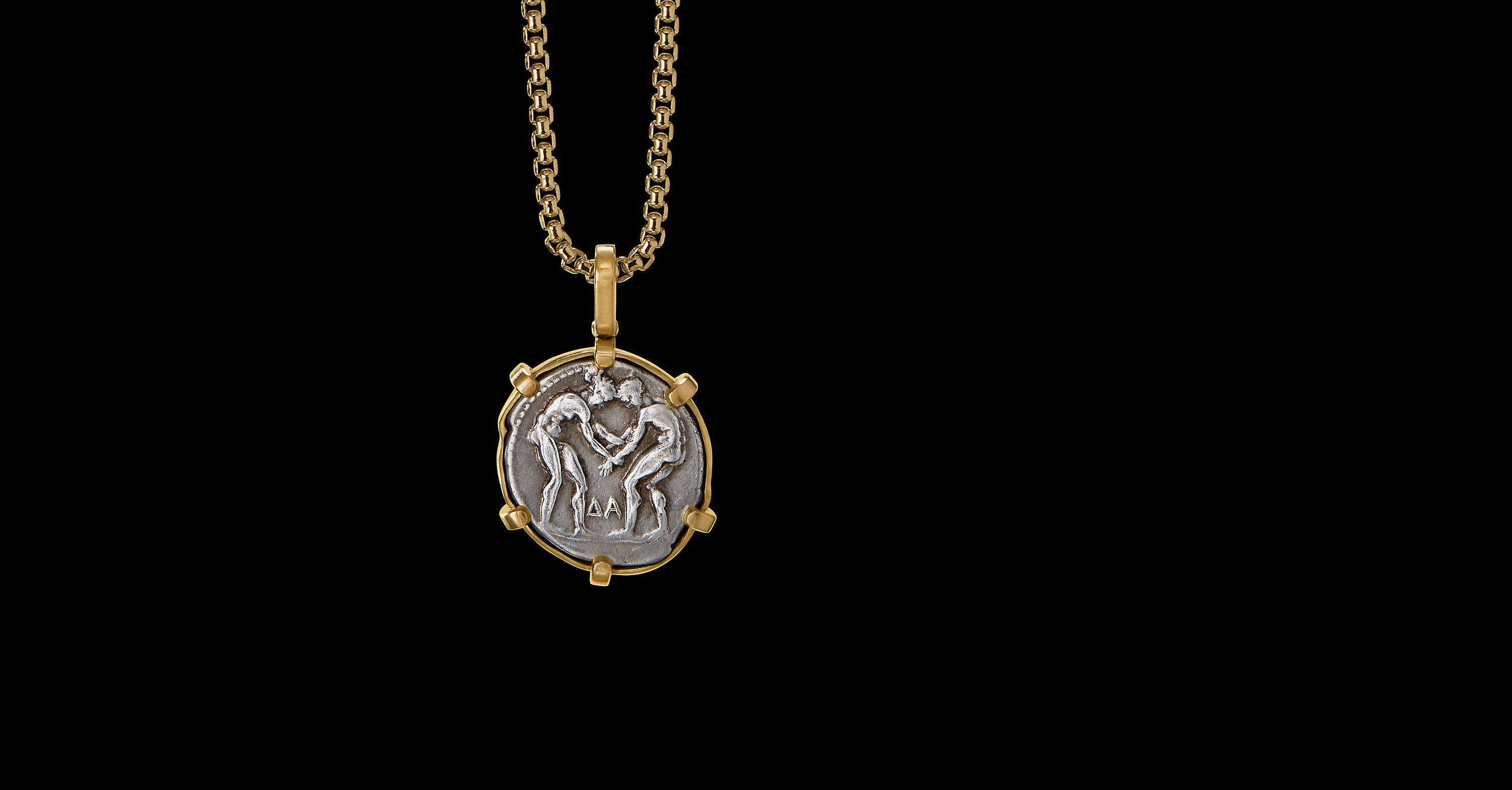 EY SignatureTwin Coin Amuletwith 22K Yellow Gold